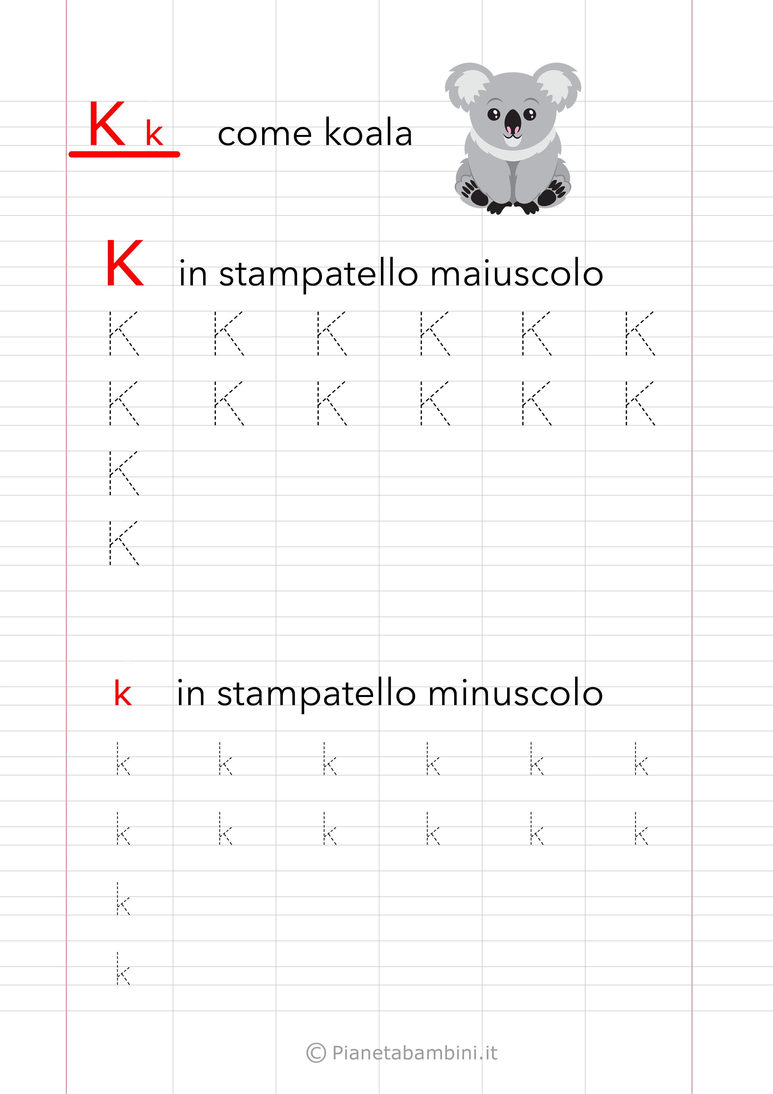 Scheda di pregrafismo Lettera K Stampatello