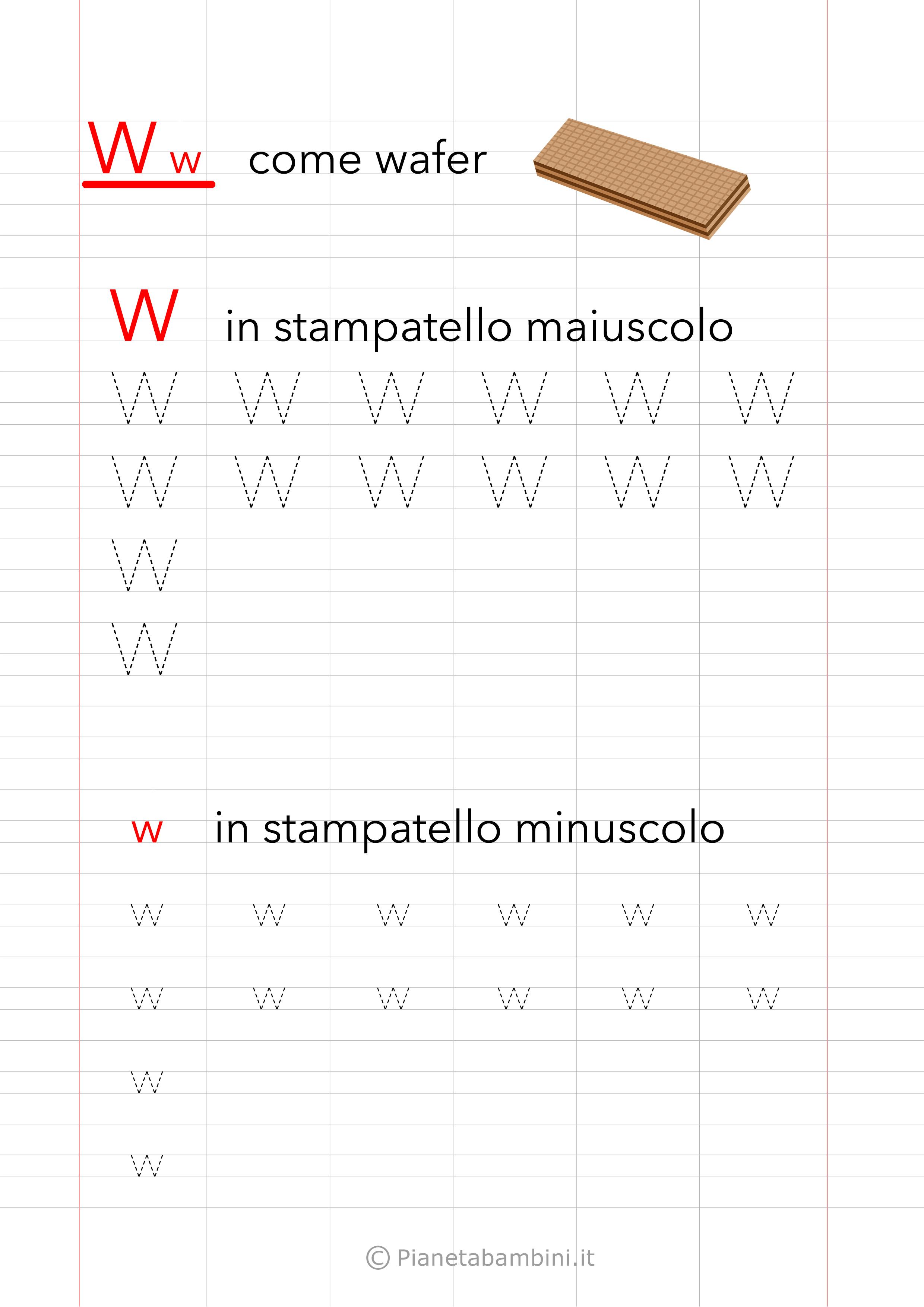 Schede di pregrafismo Lettera W Stampatello