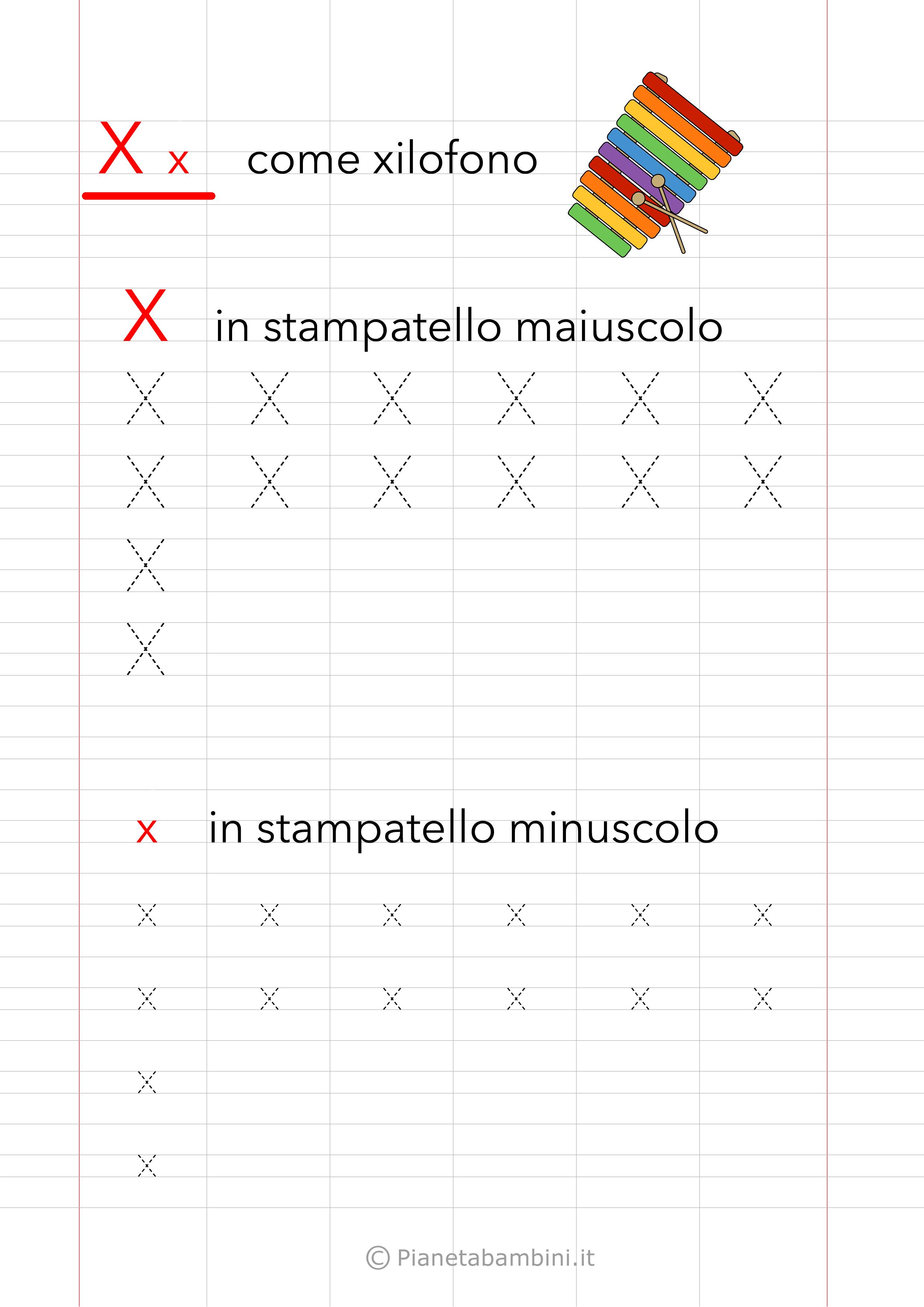 Scheda di pregrafismo Lettera X Stampatello