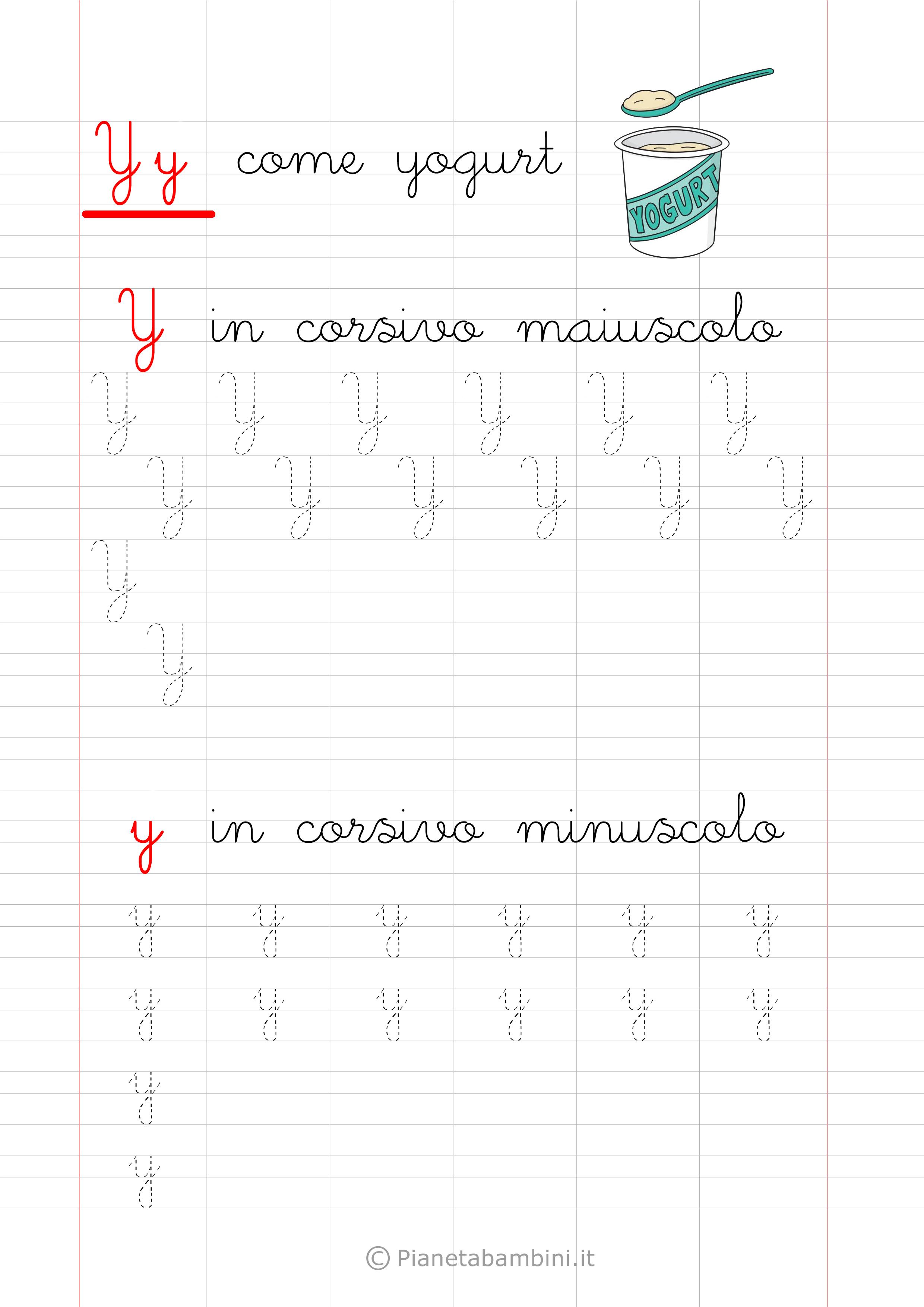 Scheda di pregrafismo Lettera Y Corsivo
