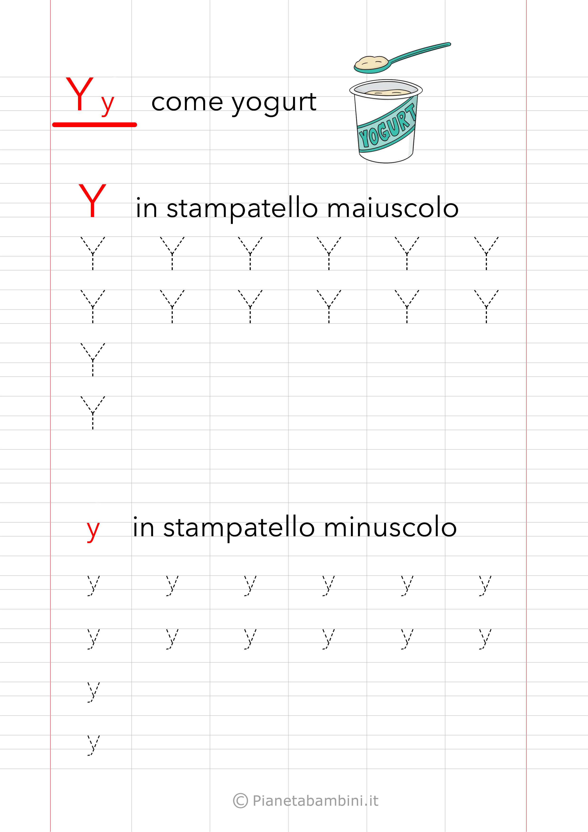 Scheda di pregrafismo Lettera Y Stampatello