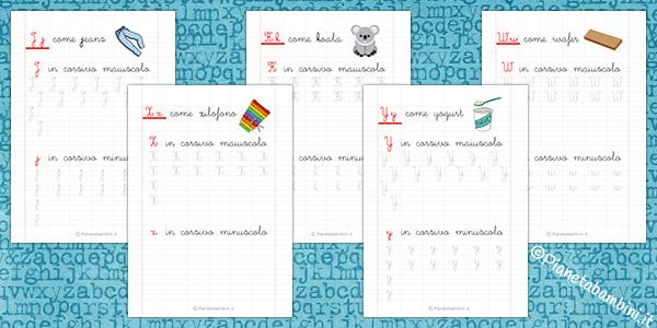 Schede di Pregrafismo sulle Lettere Straniere J K W X Y per bambini
