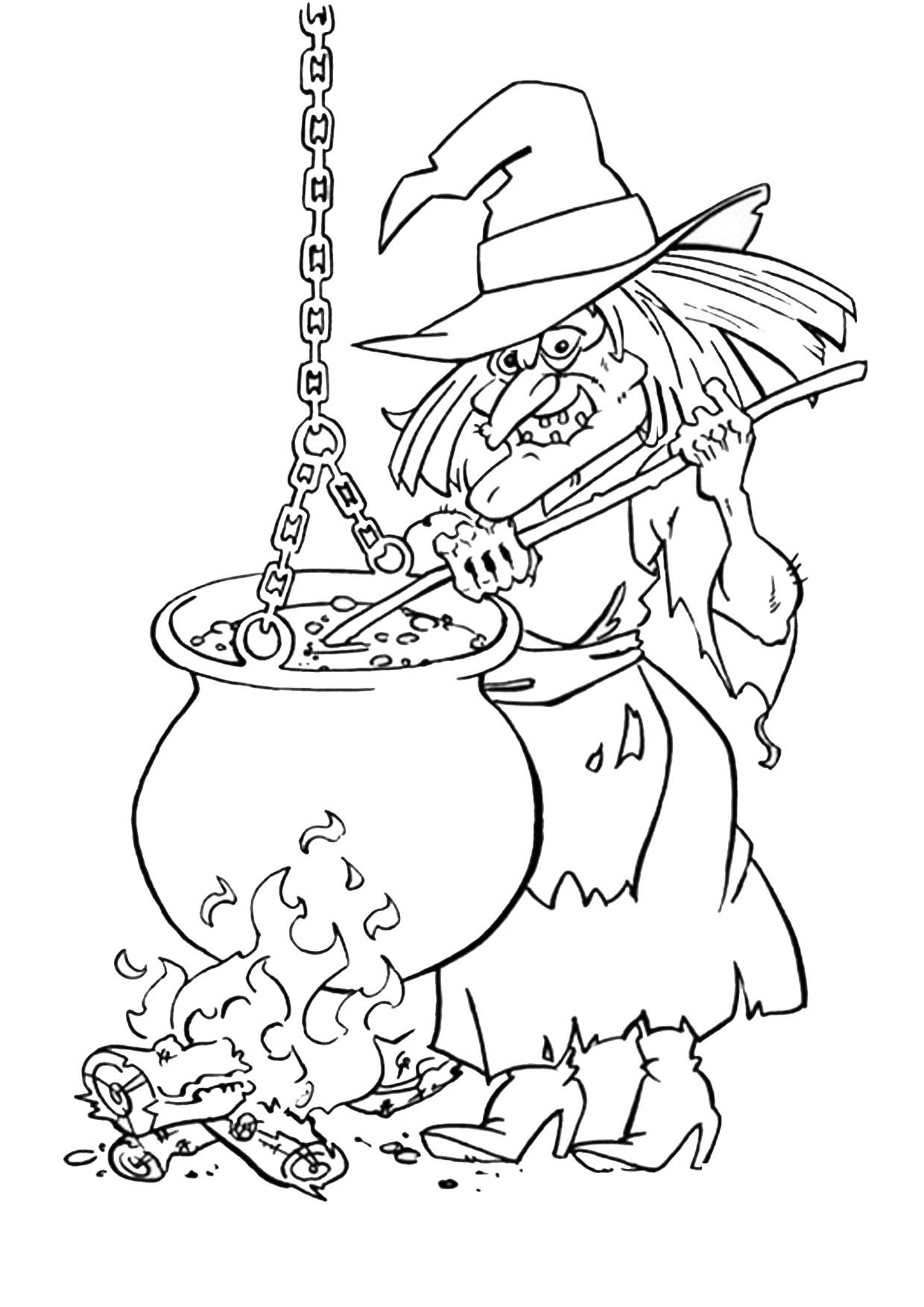 Disegno di strega da colorare 01