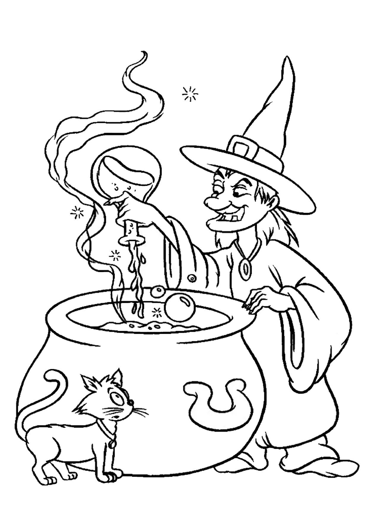 Disegno di strega da colorare 07