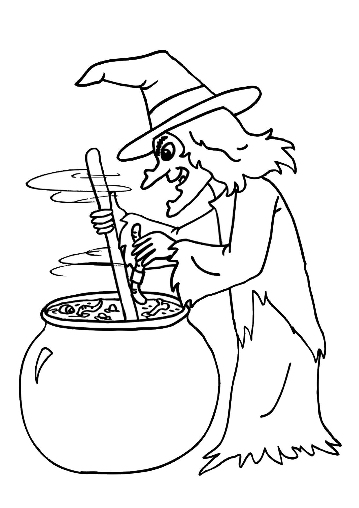 Disegno di strega da colorare 08