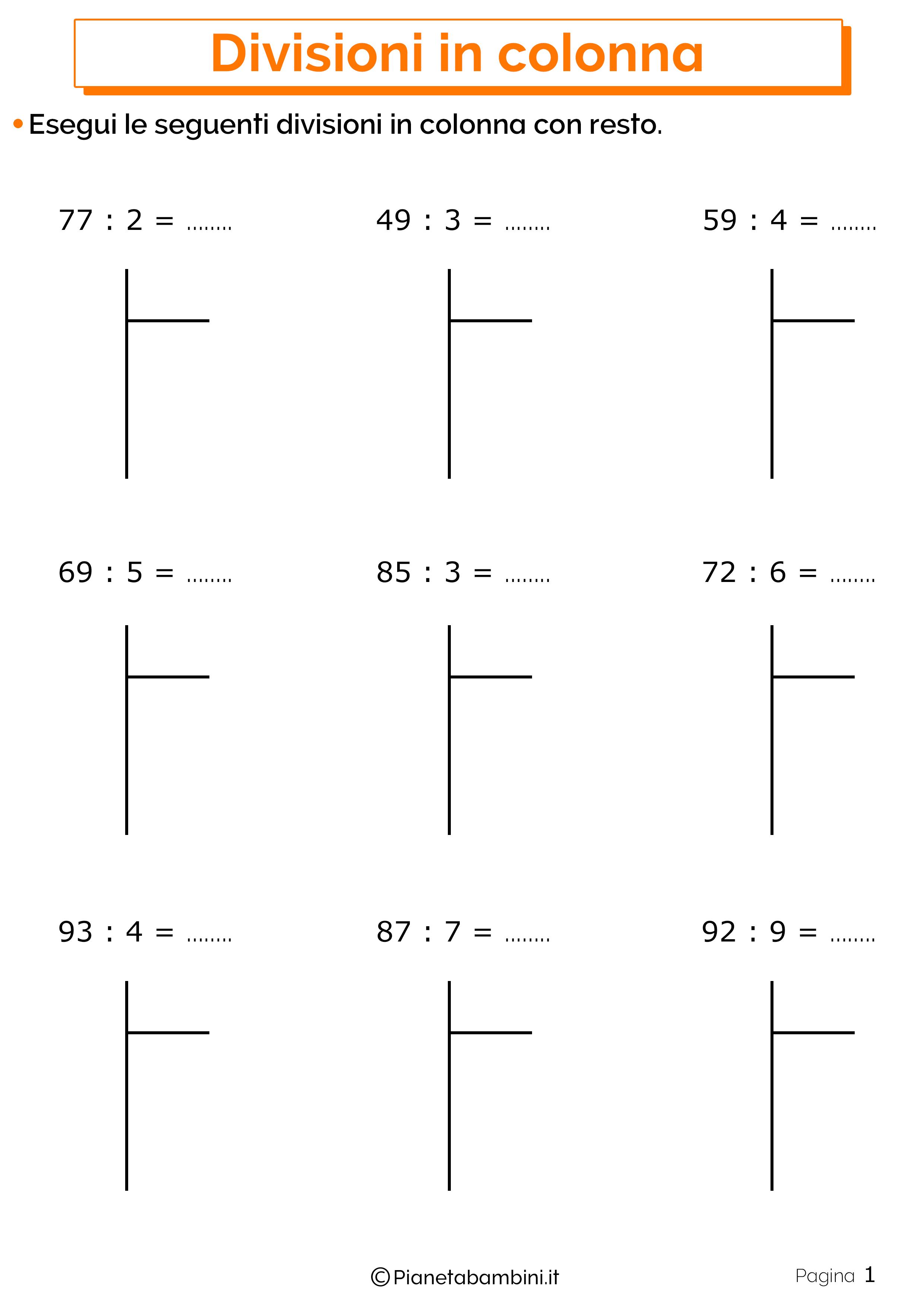 Divisioni in colonna con resto 1