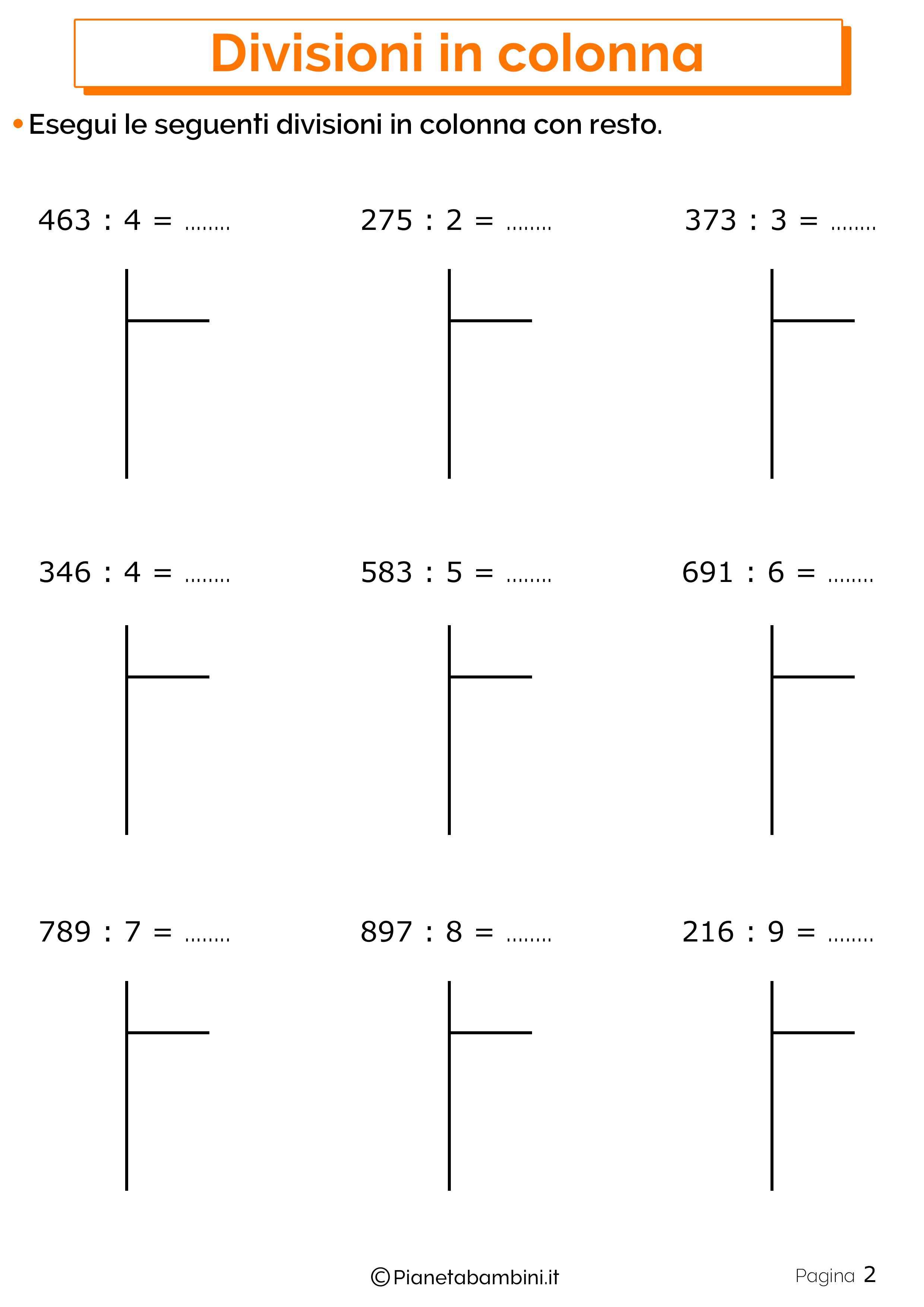 Divisioni in colonna con resto 2