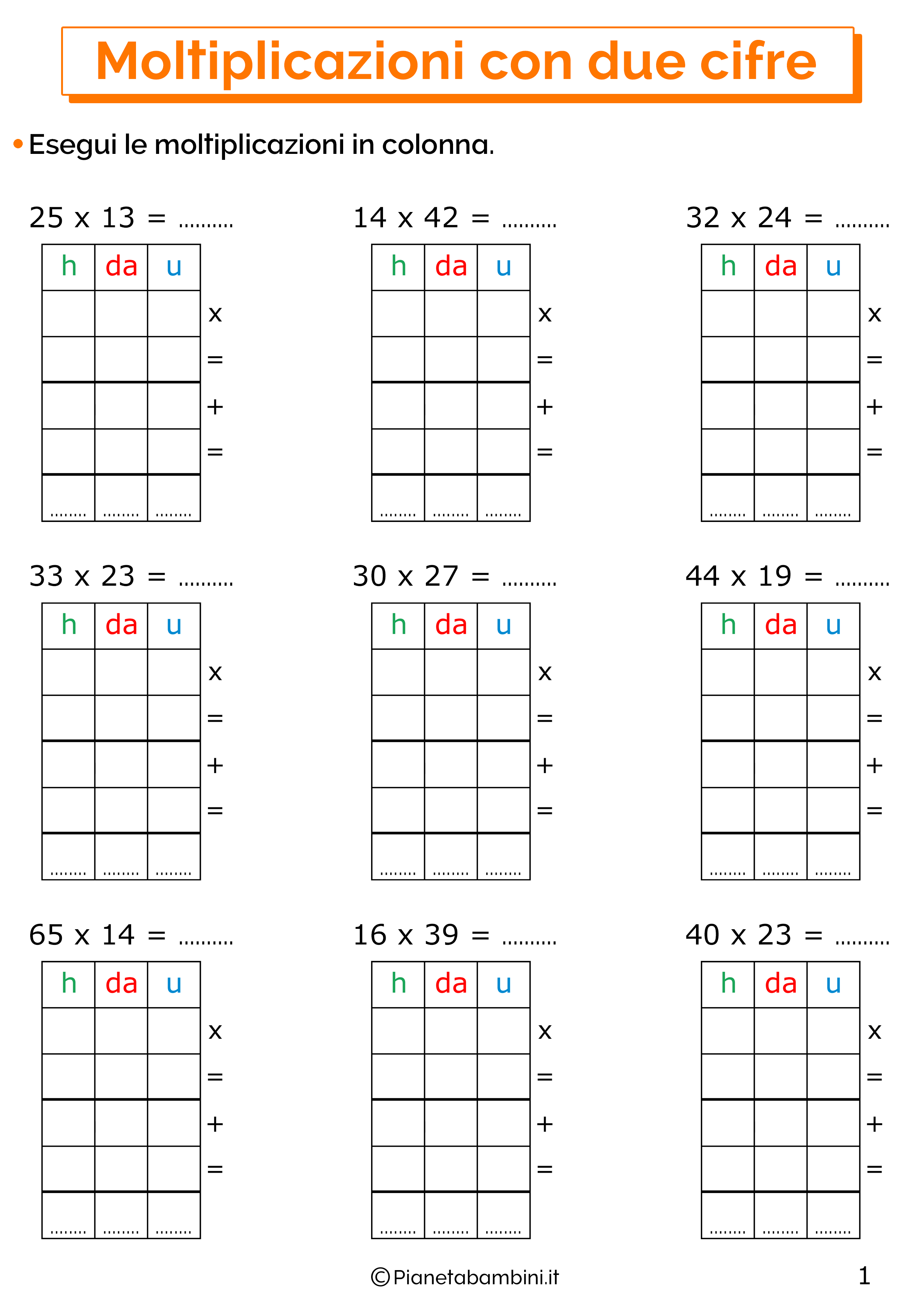 Esercizi sulle moltiplicazioni in colonna a due cifre 1
