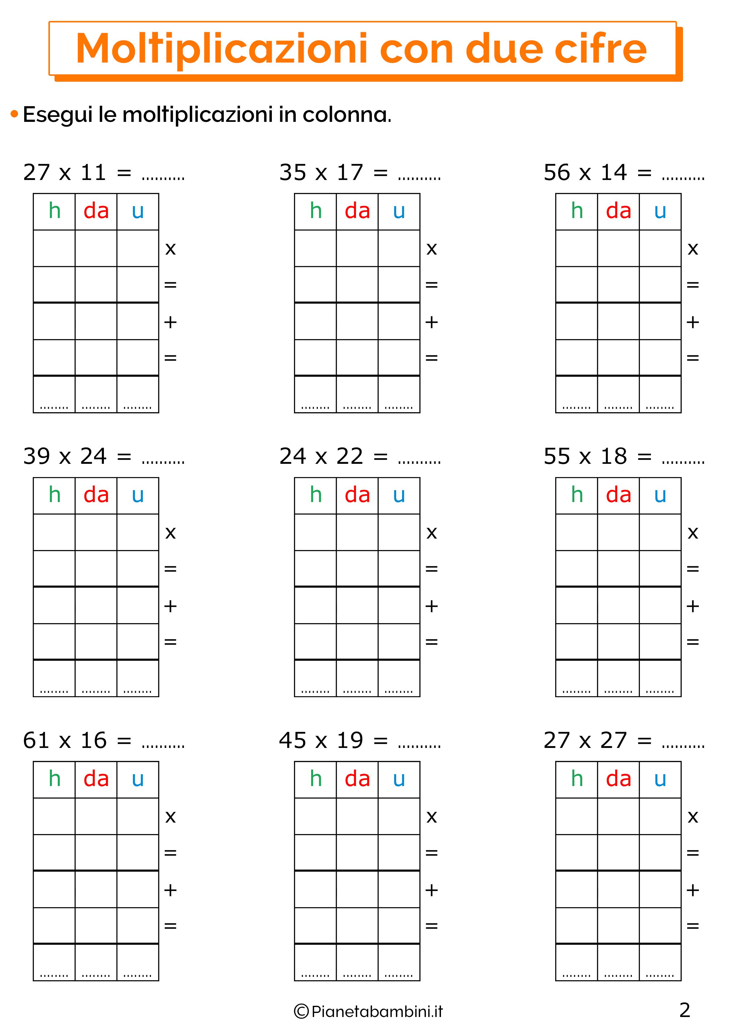 Esercizi sulle moltiplicazioni in colonna a due cifre 2