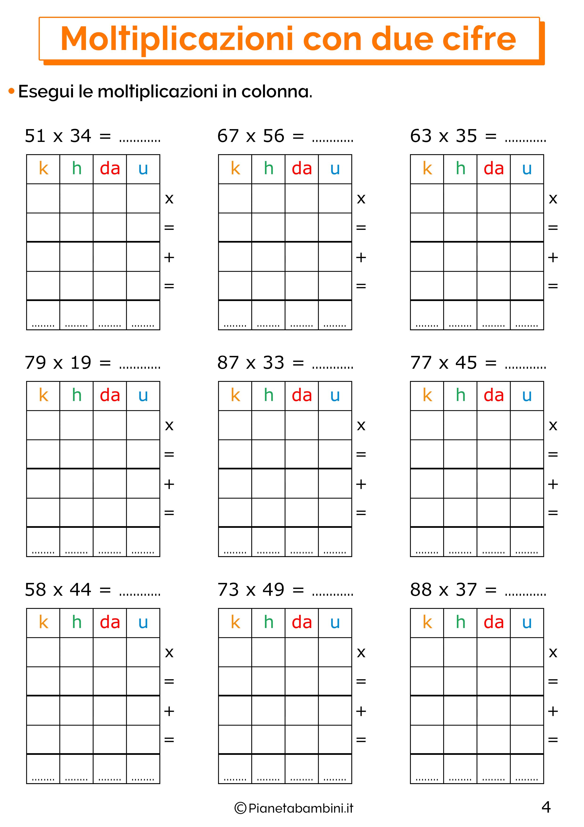 Esercizi sulle moltiplicazioni in colonna a due cifre 4