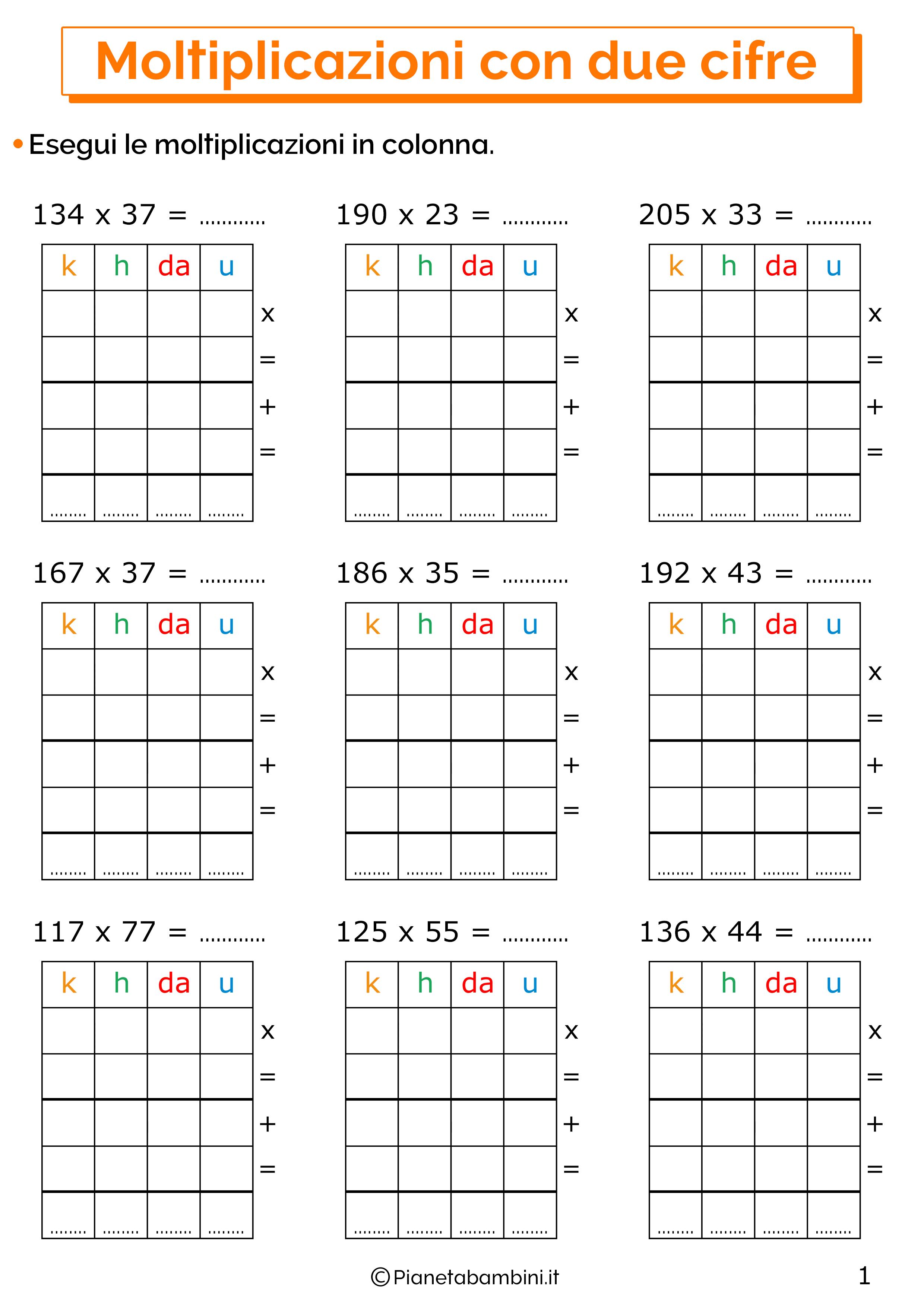 Esercizi sulle moltiplicazioni in colonna con tre cifre al moltiplicando e due cifre al moltiplicatore 1