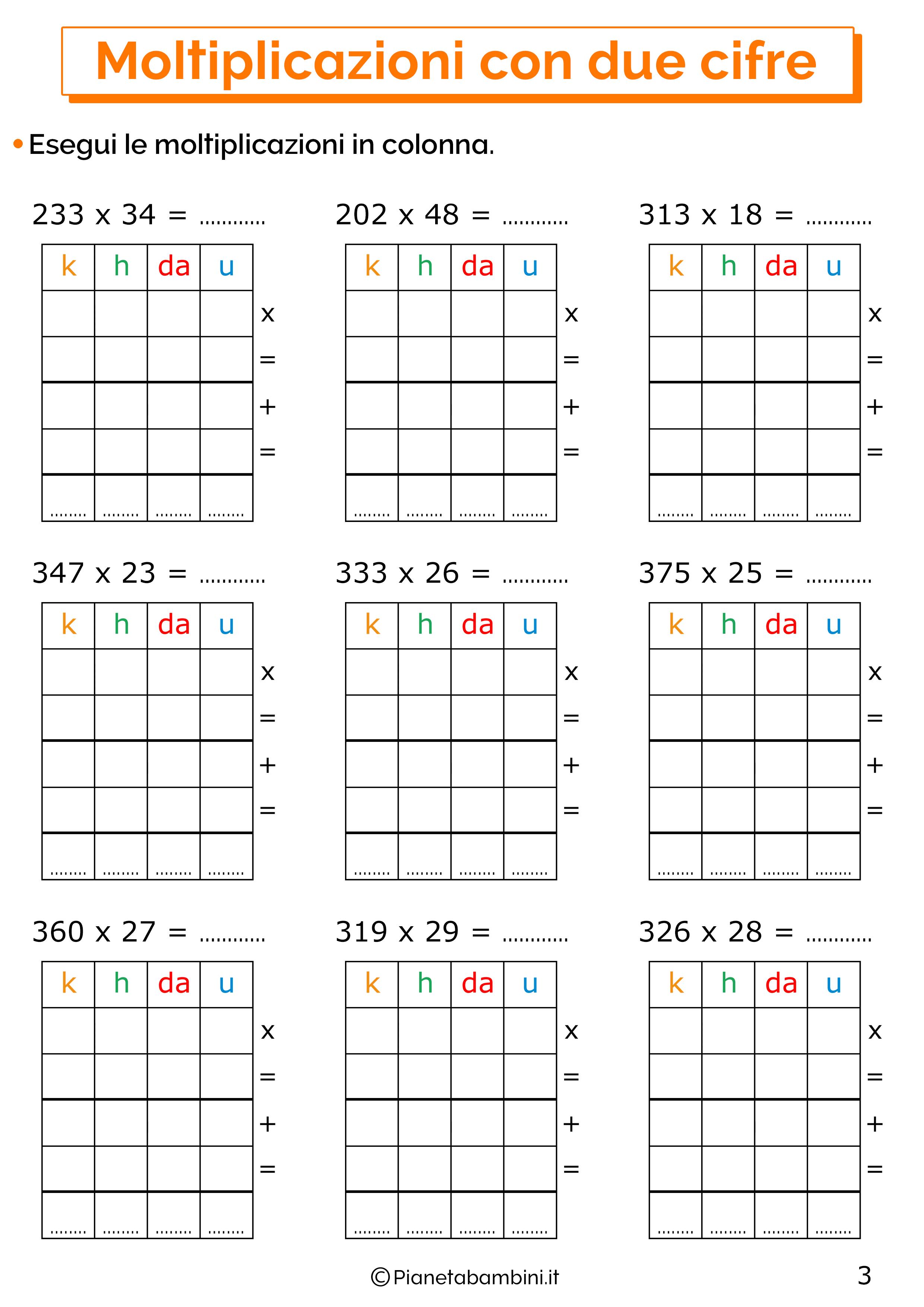 Esercizi sulle moltiplicazioni in colonna con tre cifre al moltiplicando e due cifre al moltiplicatore 3