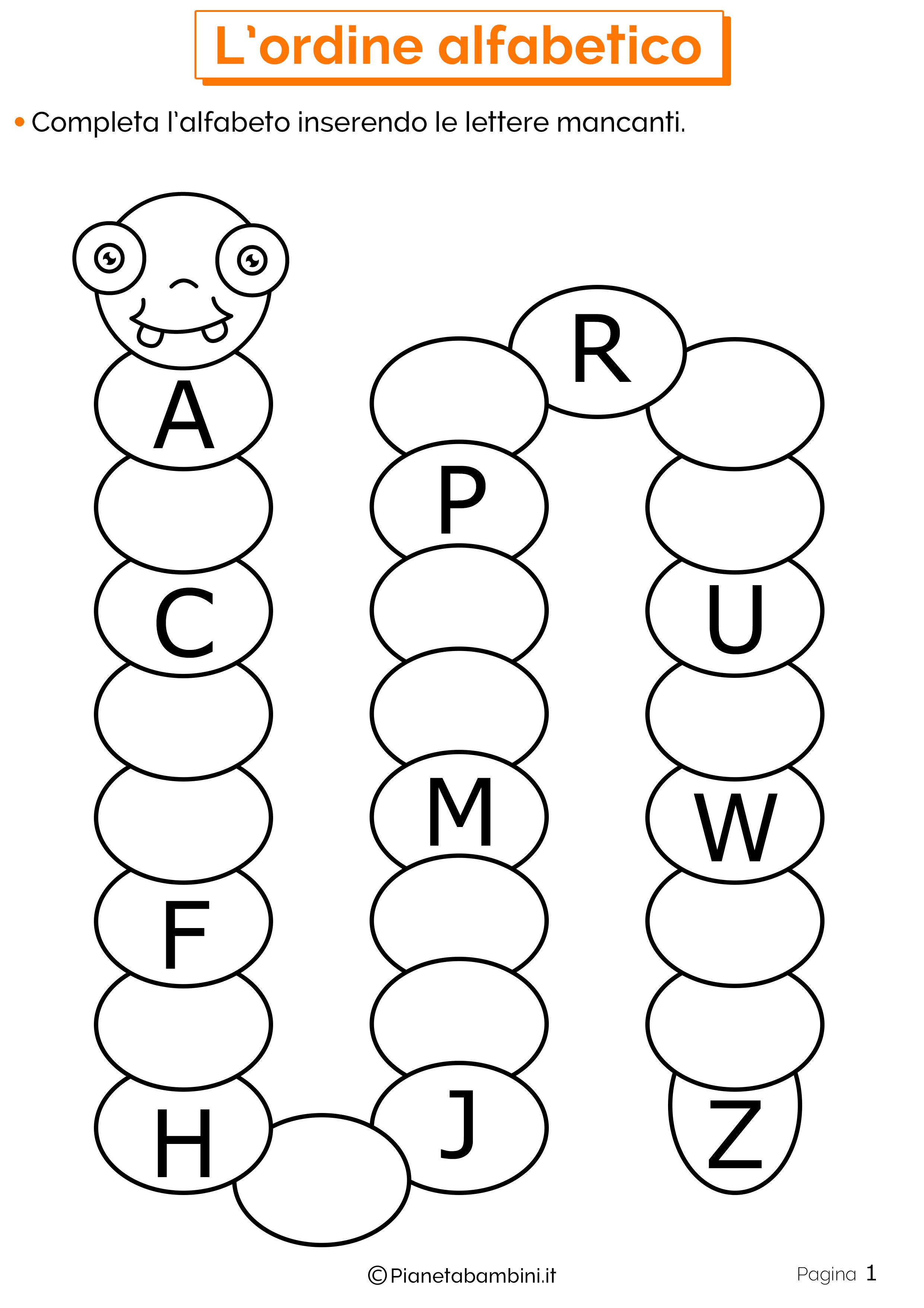 Esercizi sull'ordine alfabetico 1