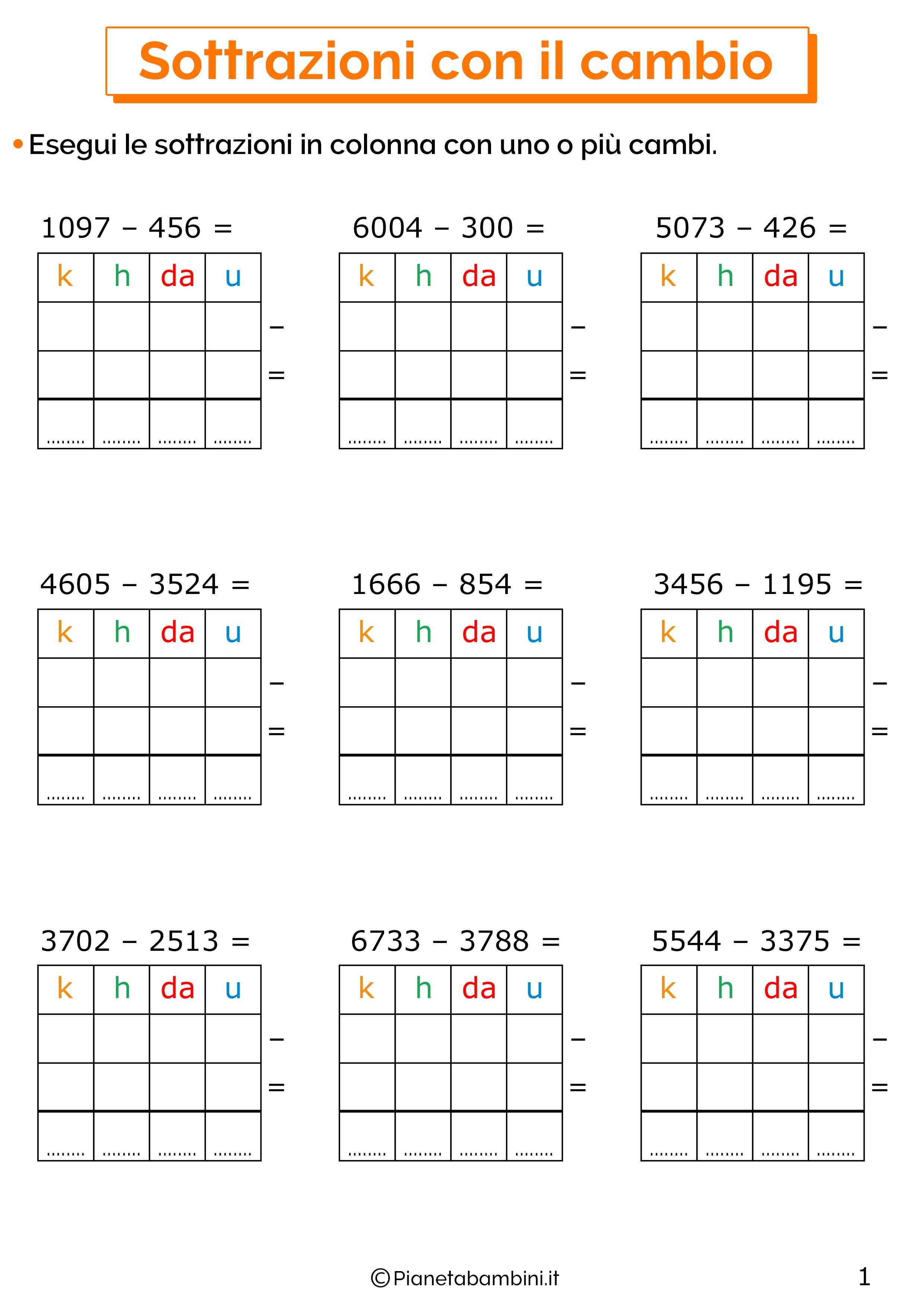 Sottrazioni con cambio a quattro cifre per la classe terza 1