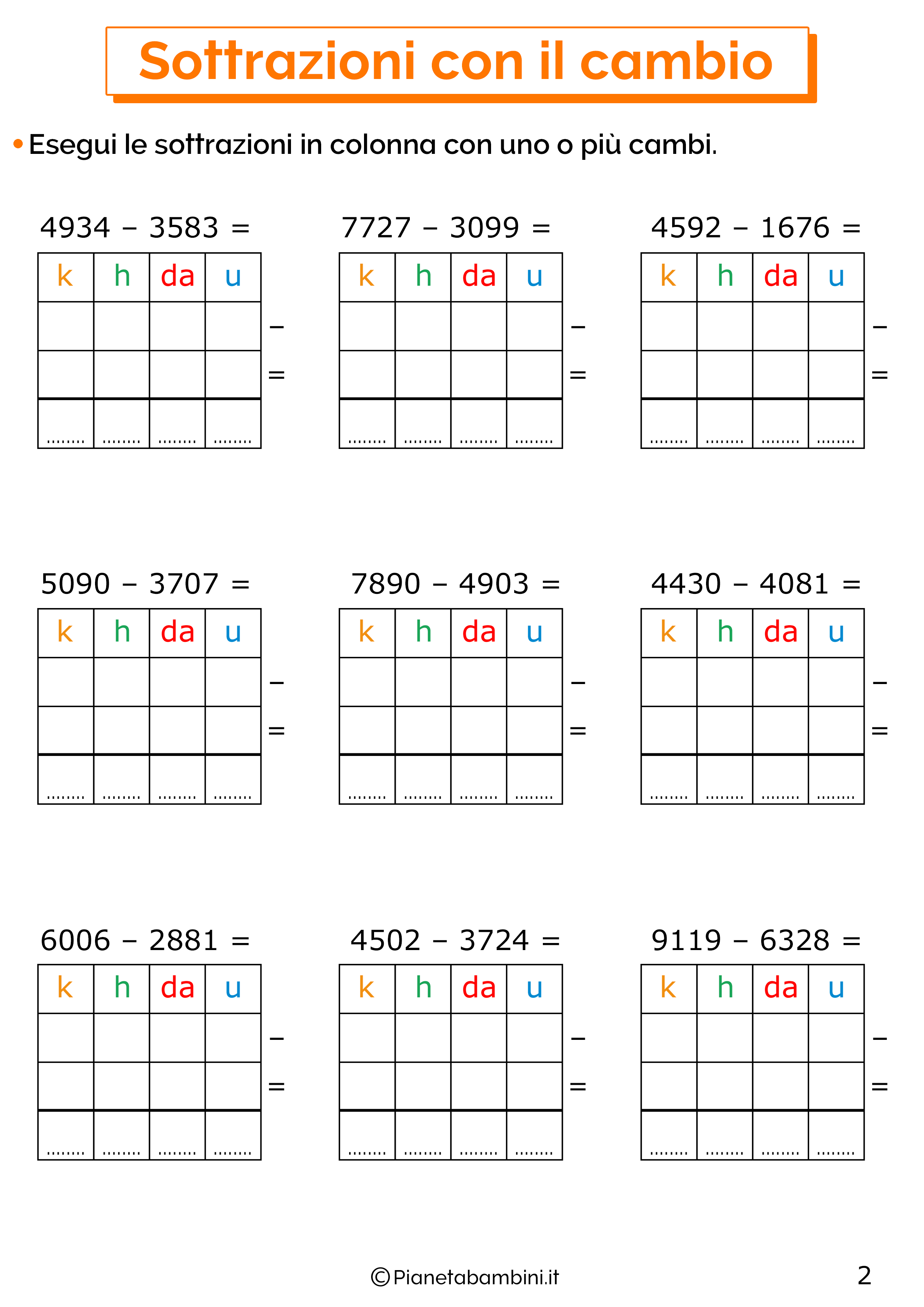 Sottrazioni con cambio a quattro cifre per la classe terza 2