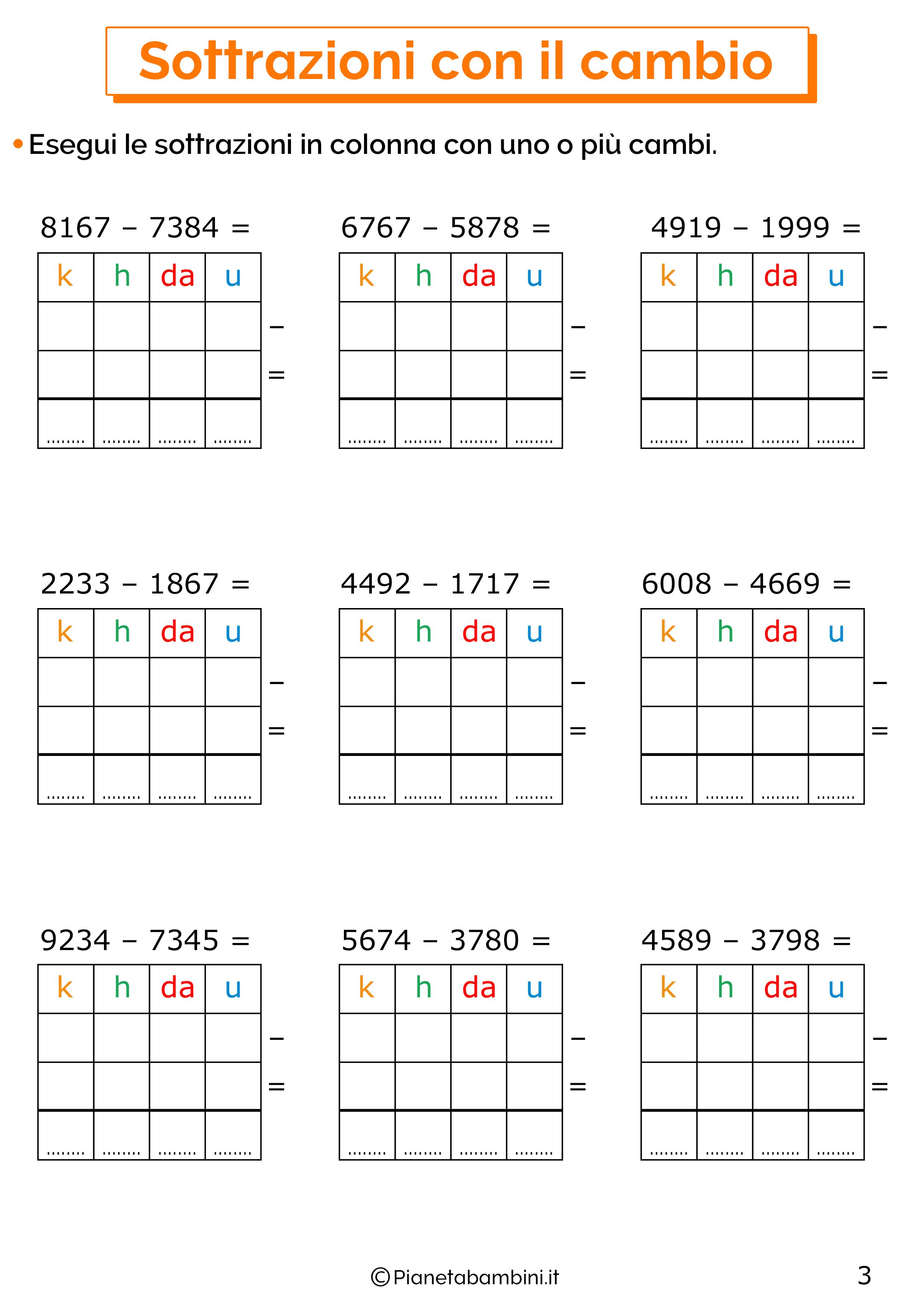 Sottrazioni con cambio a quattro cifre per la classe terza 3