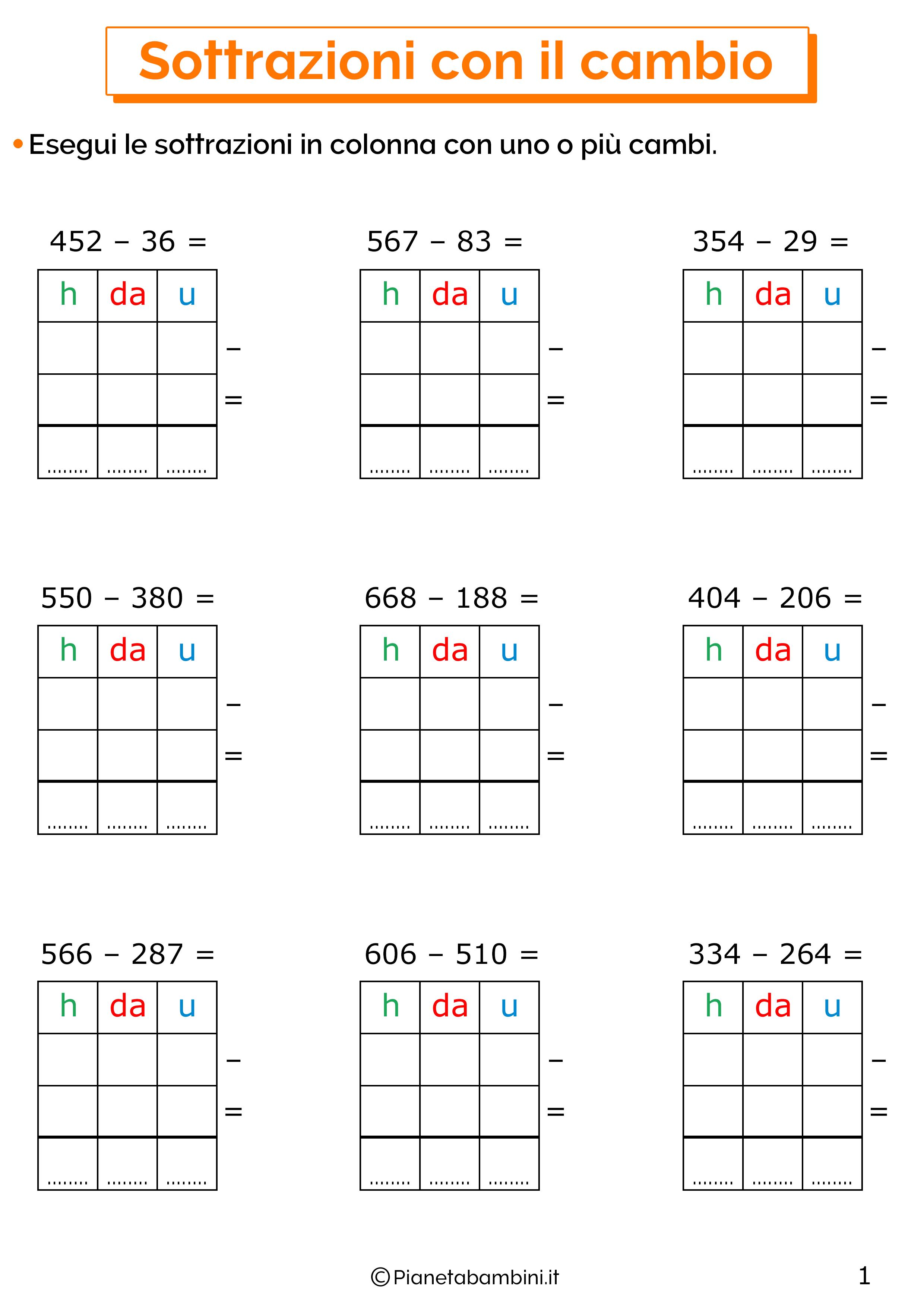 Sottrazioni con cambio a tre cifre per la classe terza 1