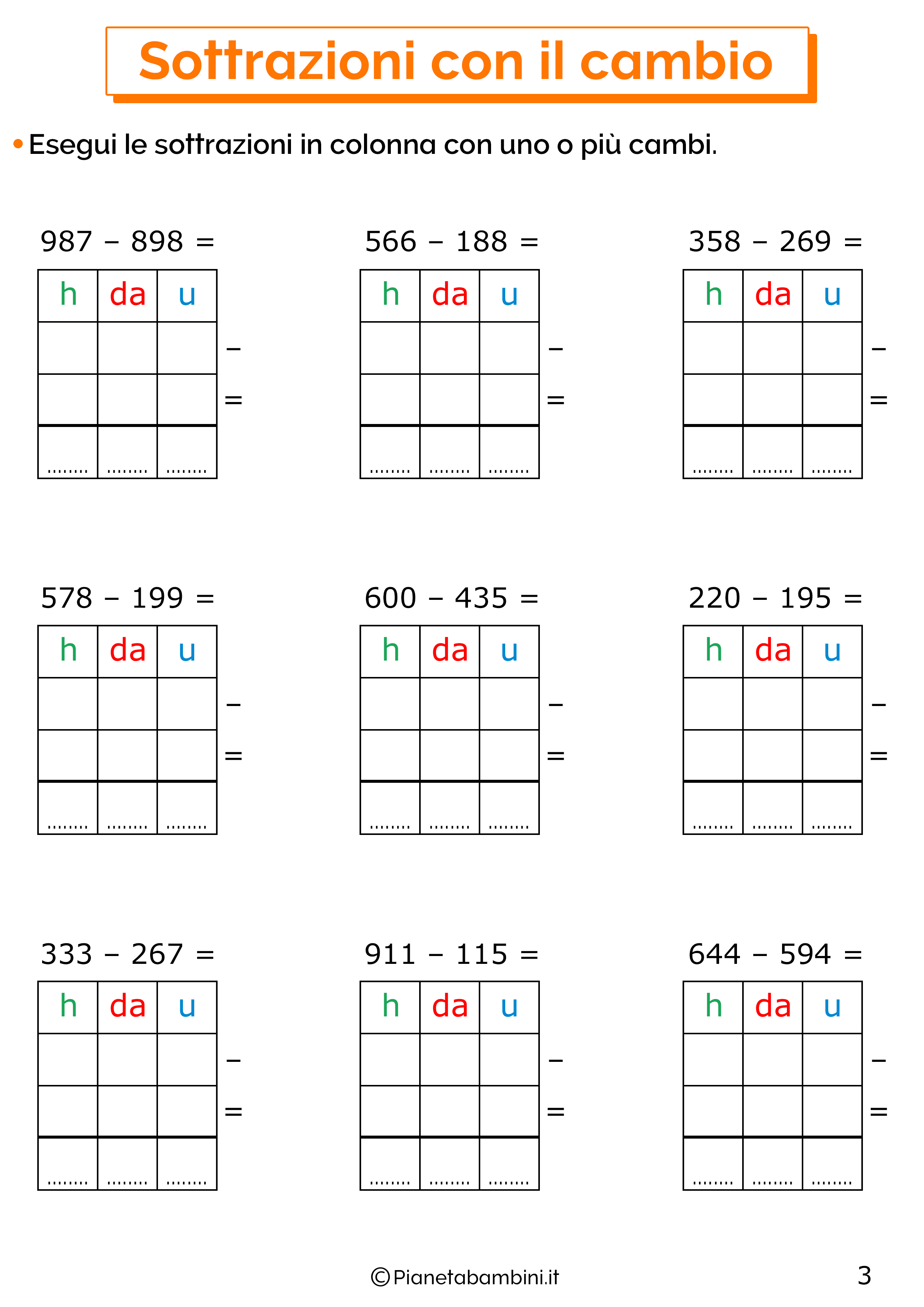 Sottrazioni con cambio a tre cifre per la classe terza 3