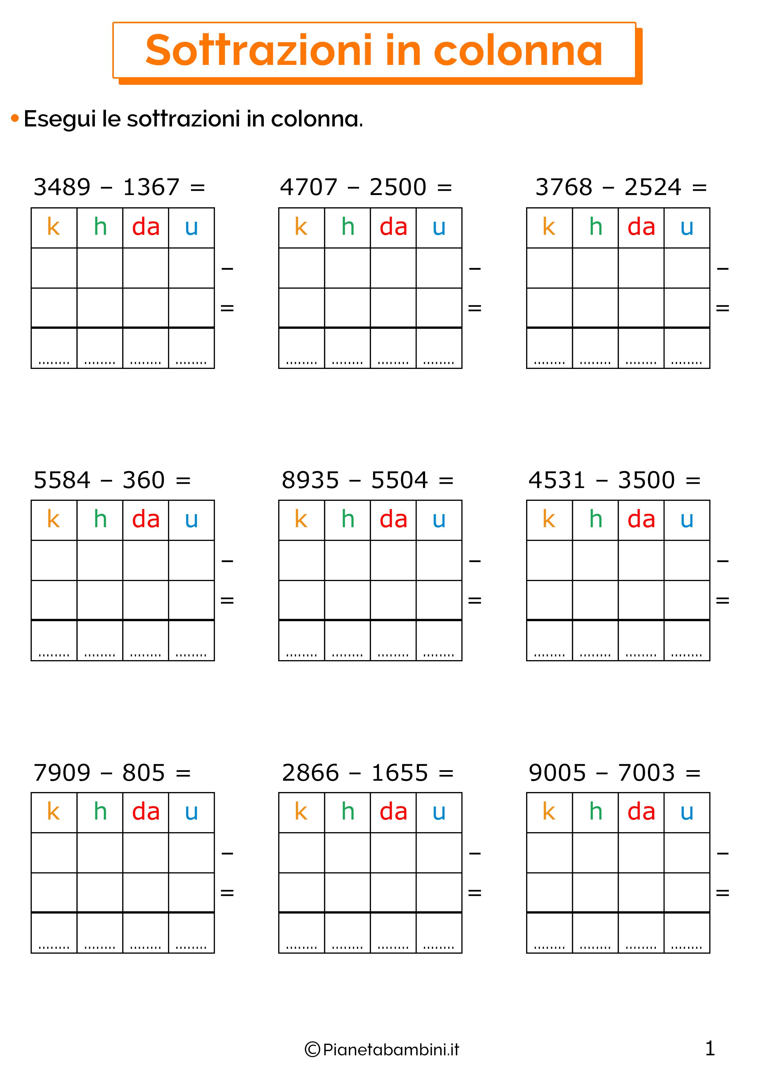 Sottrazioni senza cambio a quattro cifre per la classe terza 3