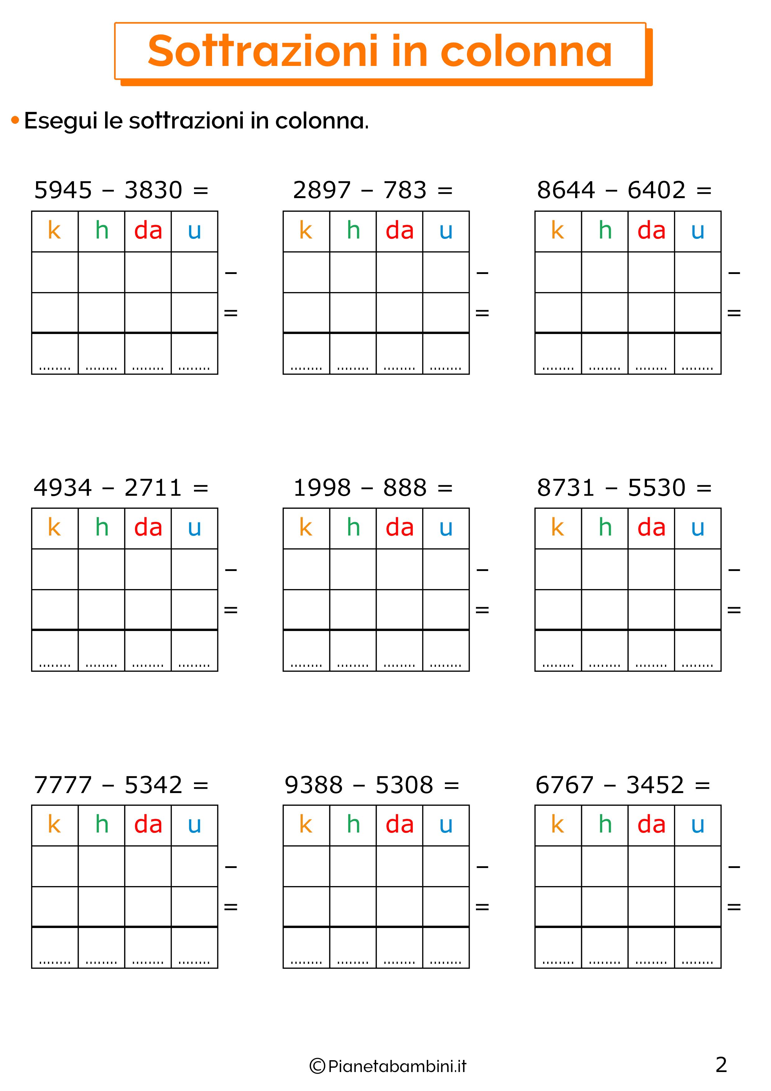 Sottrazioni senza cambio a quattro cifre per la classe terza 2