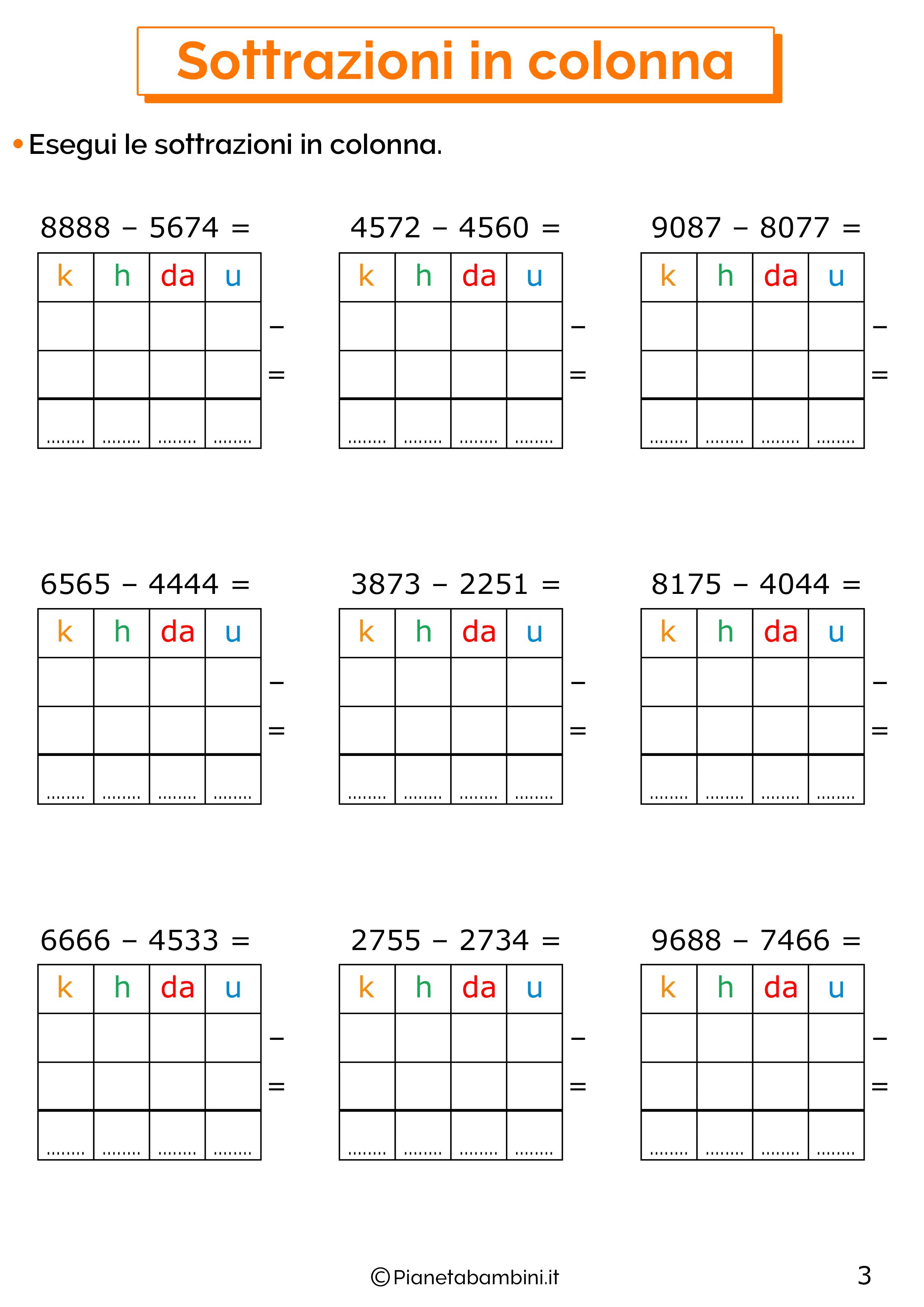 Sottrazioni senza cambio a quattro cifre per la classe terza 1