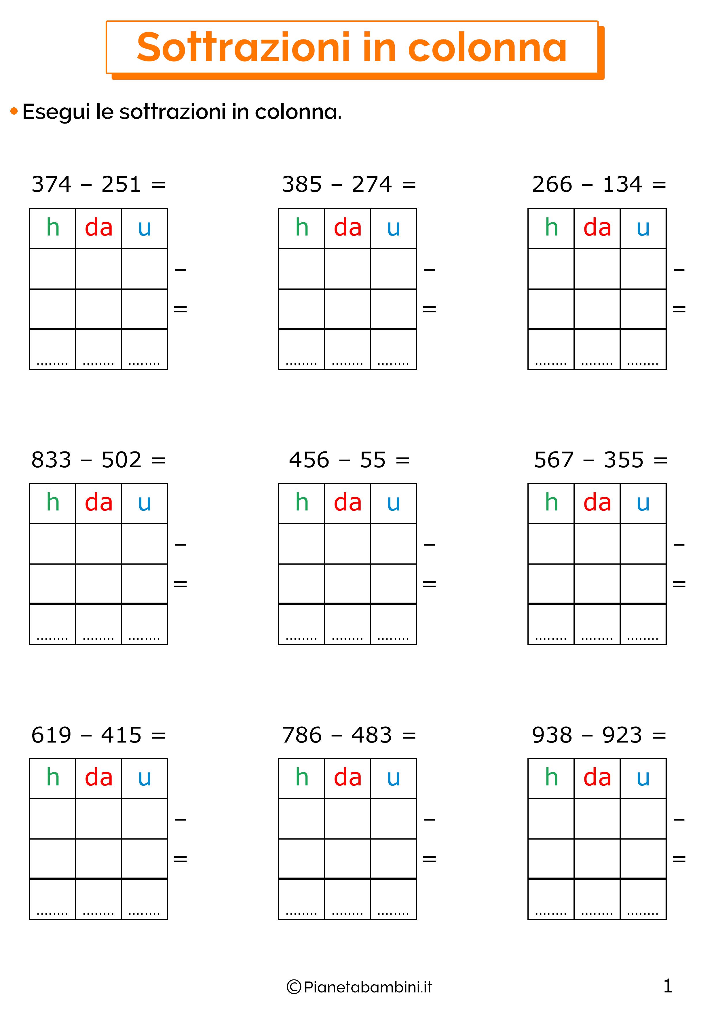 Sottrazioni senza cambio a tre cifre per la classe terza 1