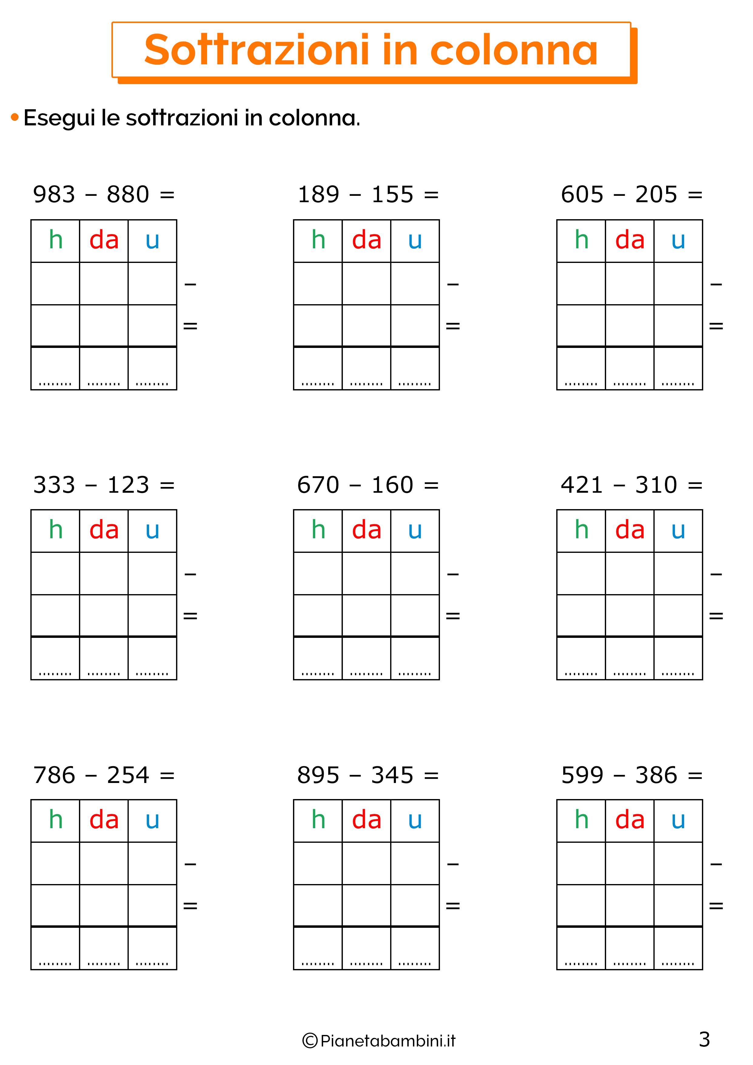 Sottrazioni senza cambio a tre cifre per la classe terza 3