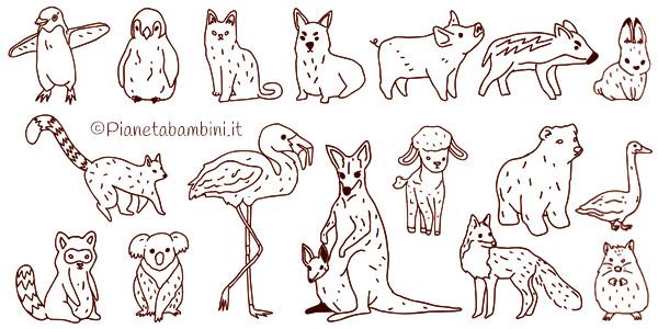 Raccolta di disegni di animali da colorare pronti da stampare