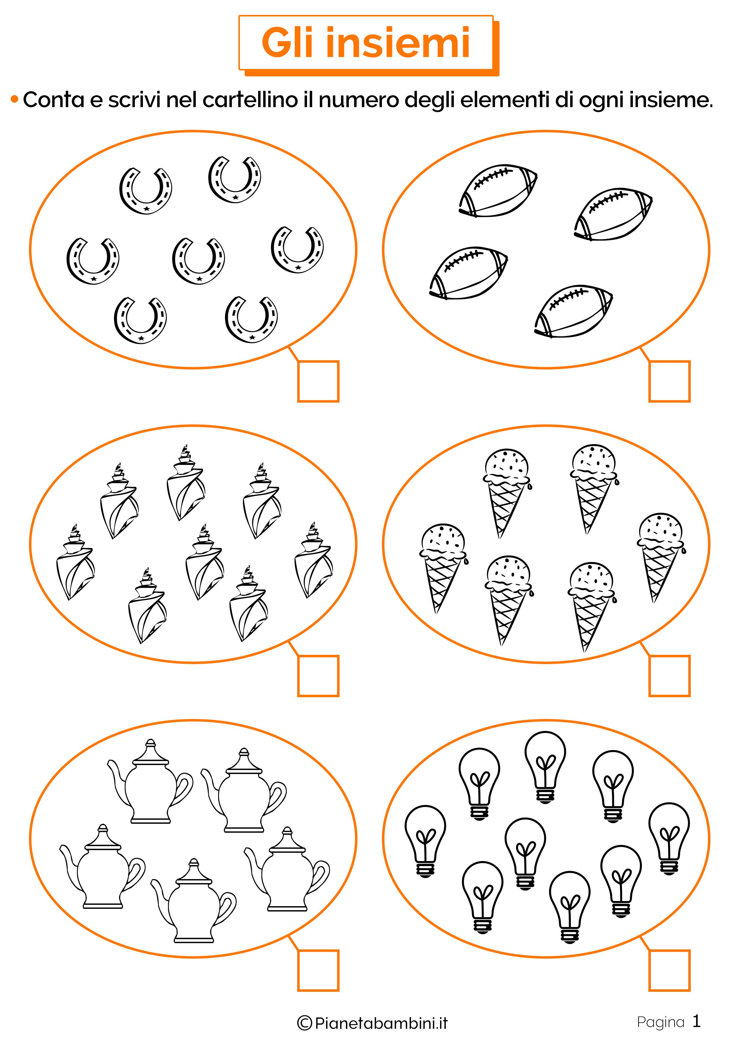 Schede didattiche sugli insiemi 1