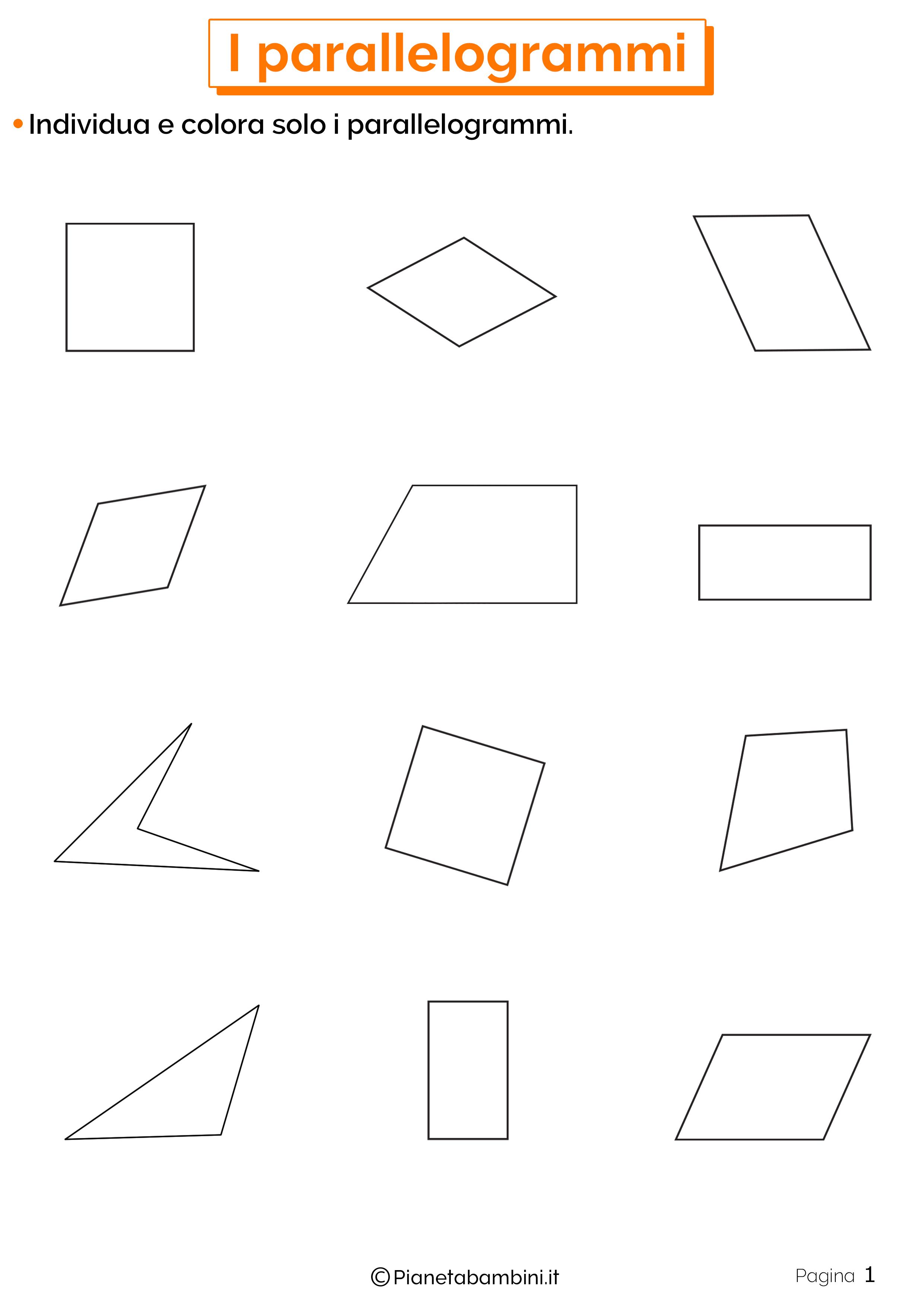 Schede didattiche sui parallelogrammi 1