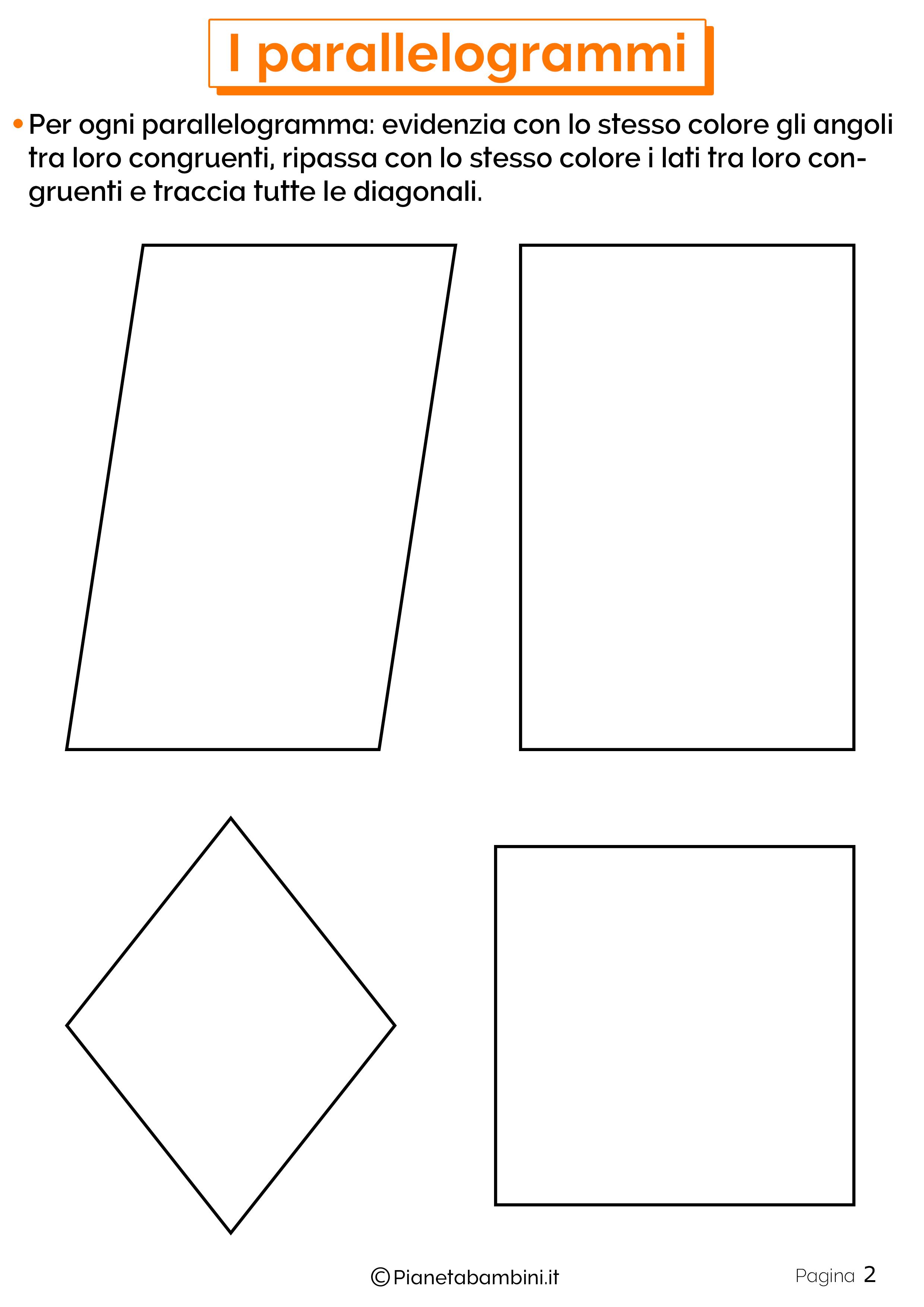 Schede didattiche sui parallelogrammi 2