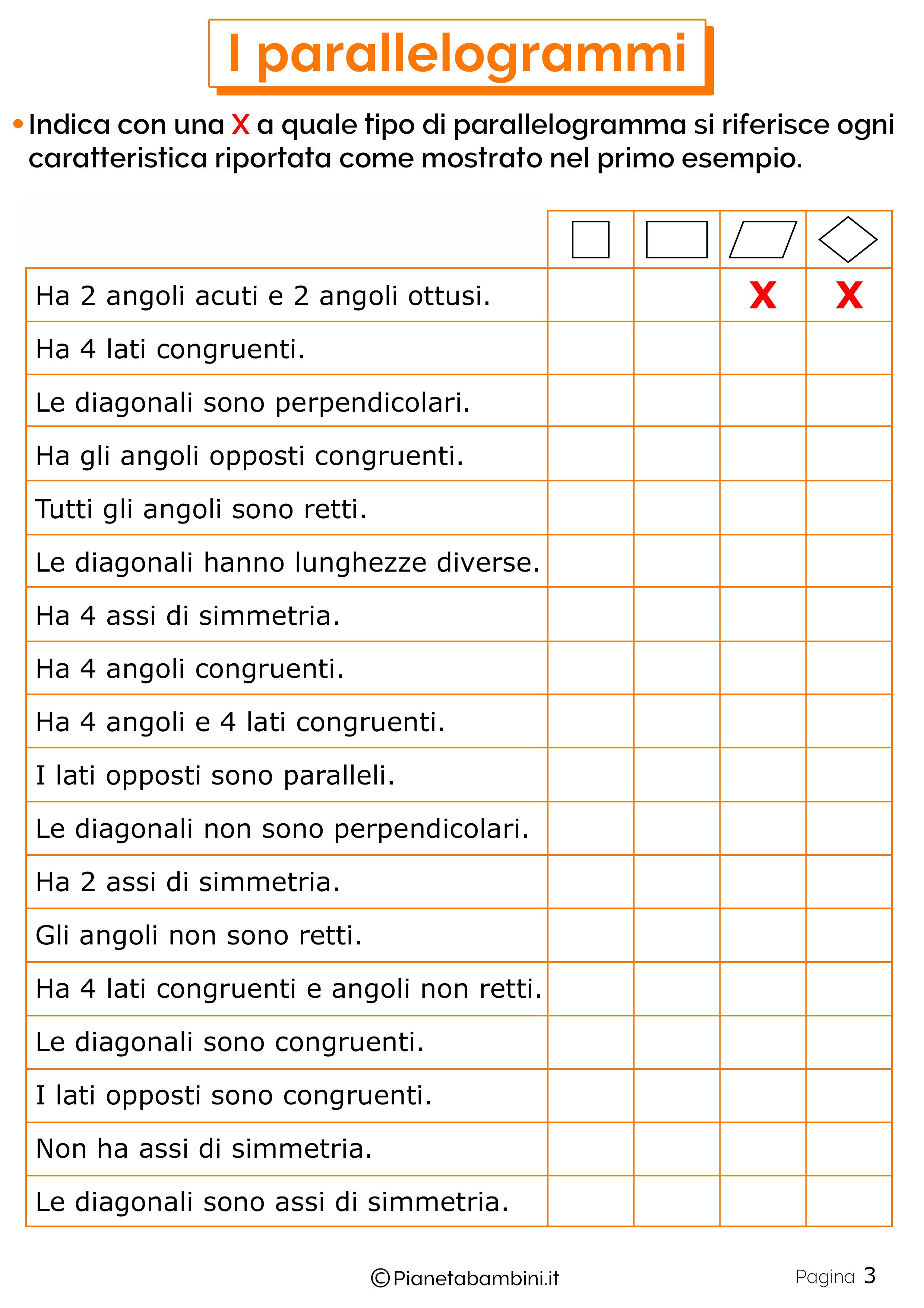 Schede didattiche sui parallelogrammi 3