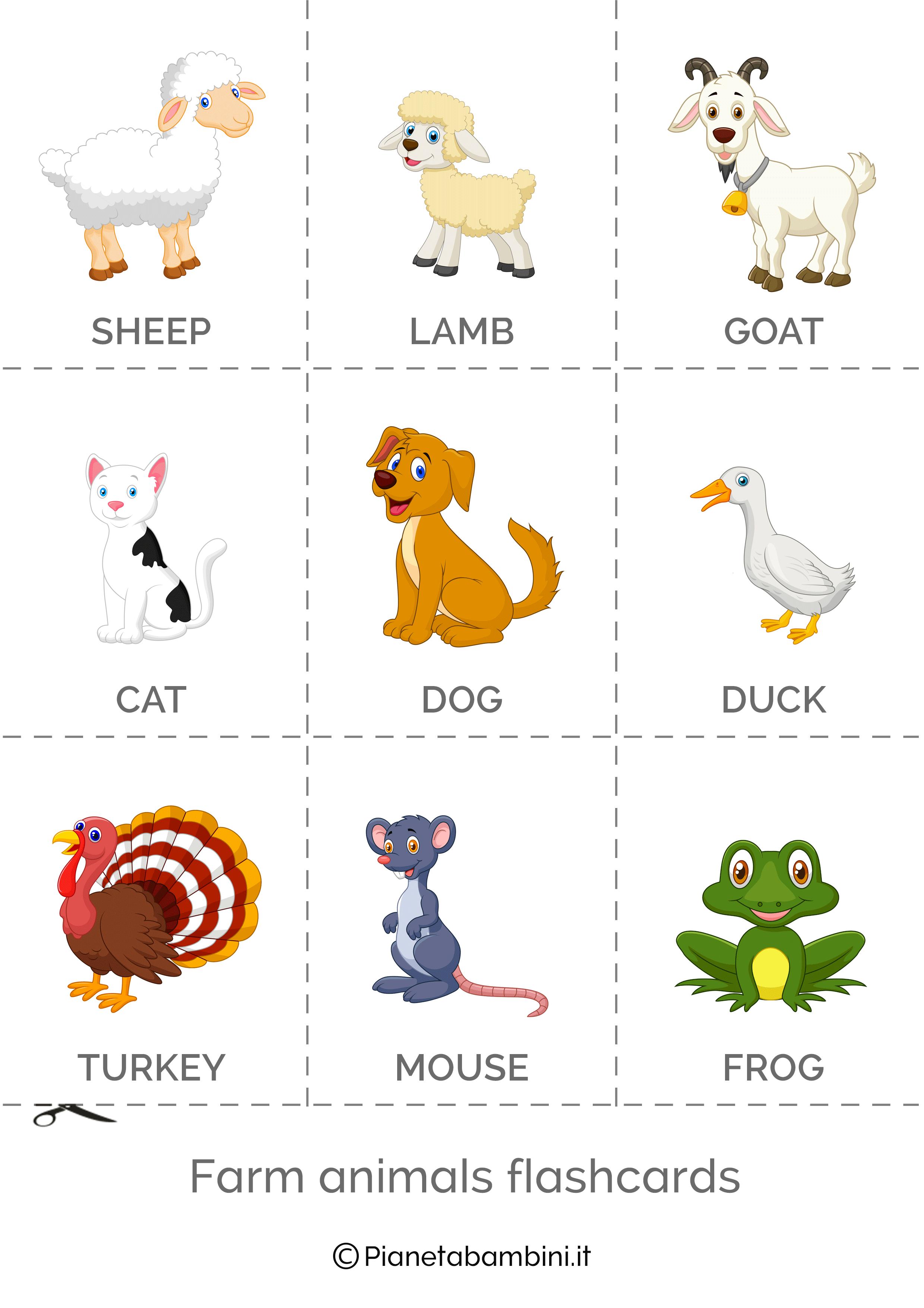 Flashcard da ritagliare animali della fattoria in inglese 2