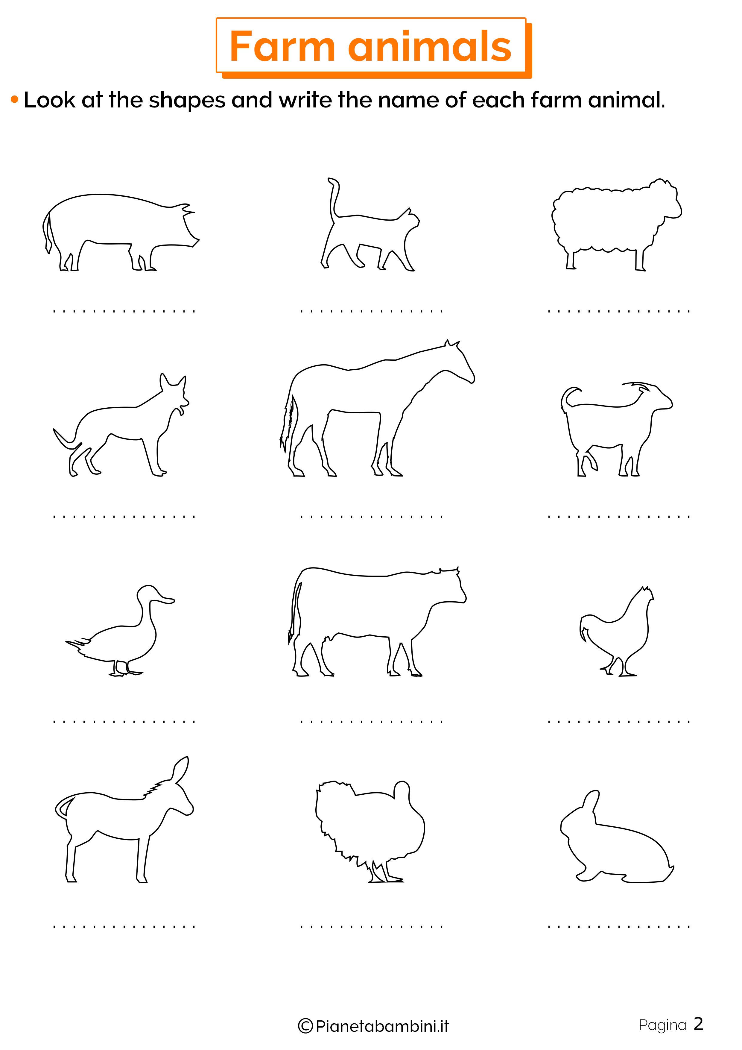 Esercizi sugli animali della fattoria in inglese 2