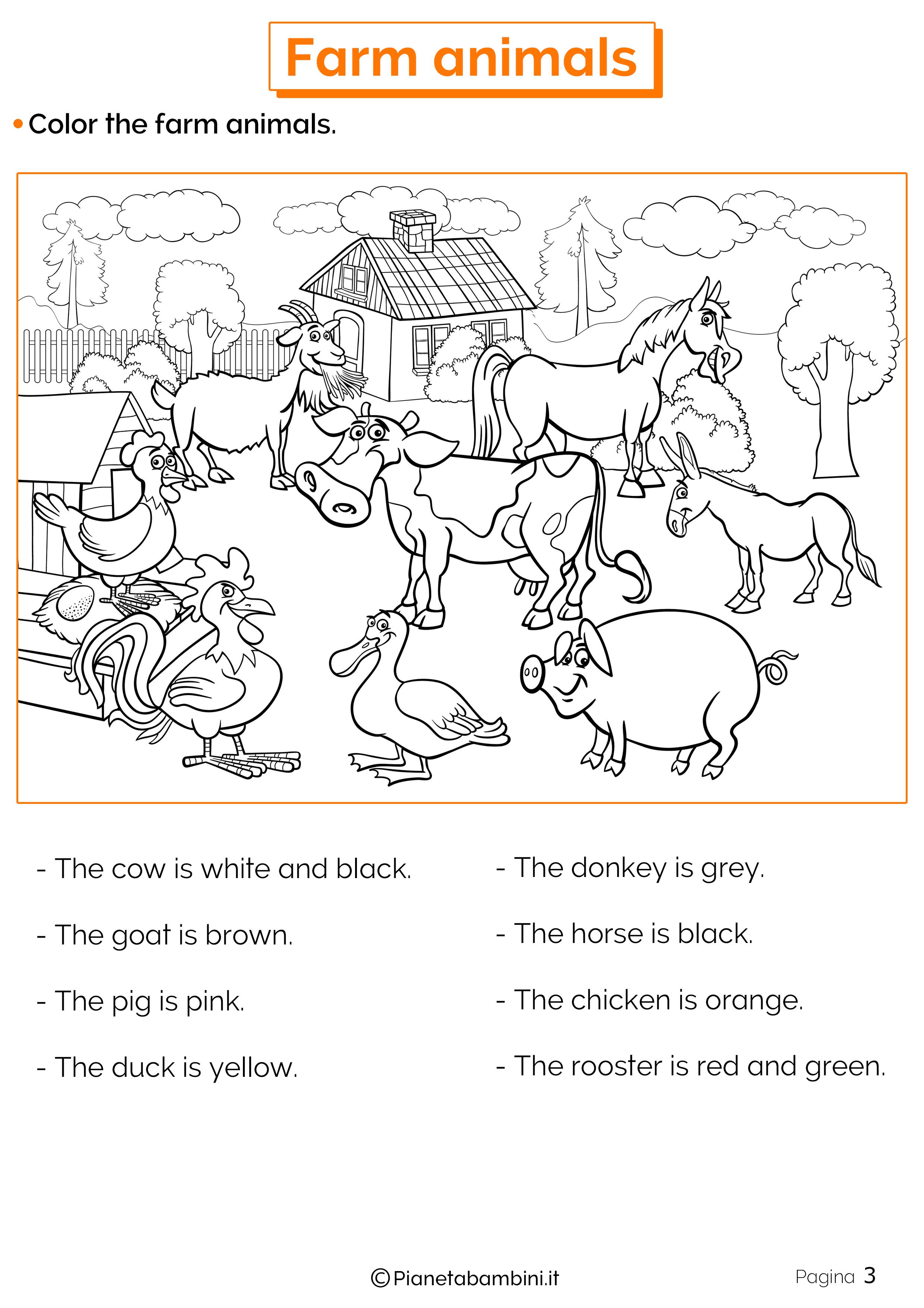 Esercizi sugli animali della fattoria in inglese 3