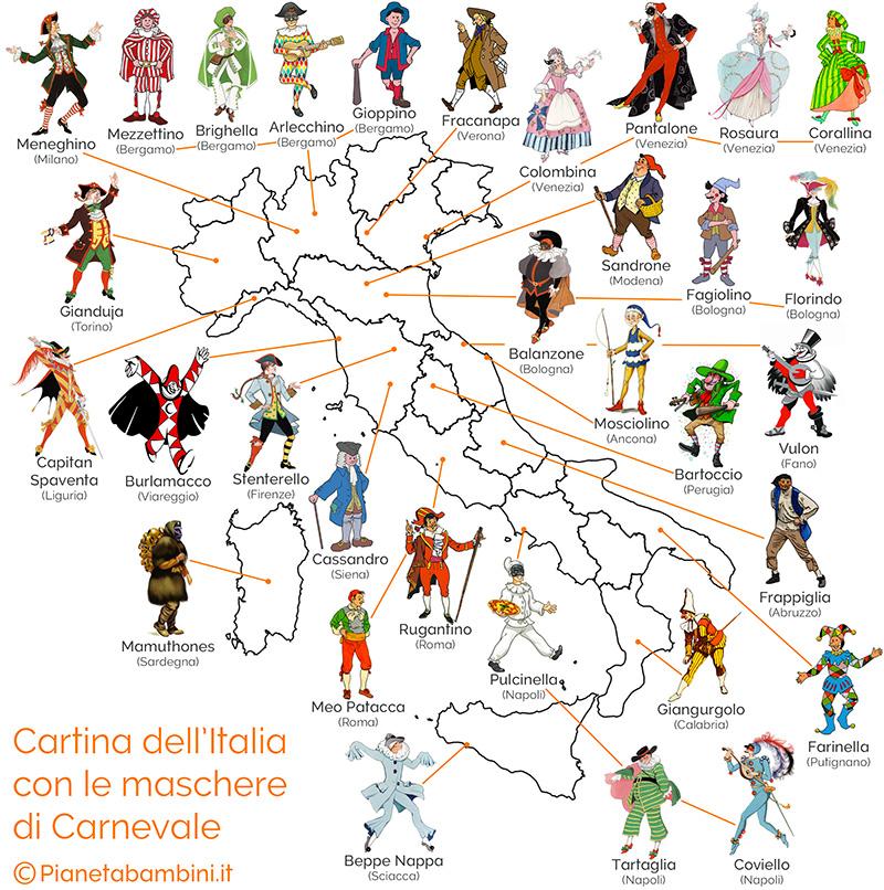 Cartina dell'Italia con le maschere di Carnevale suddivise per regione