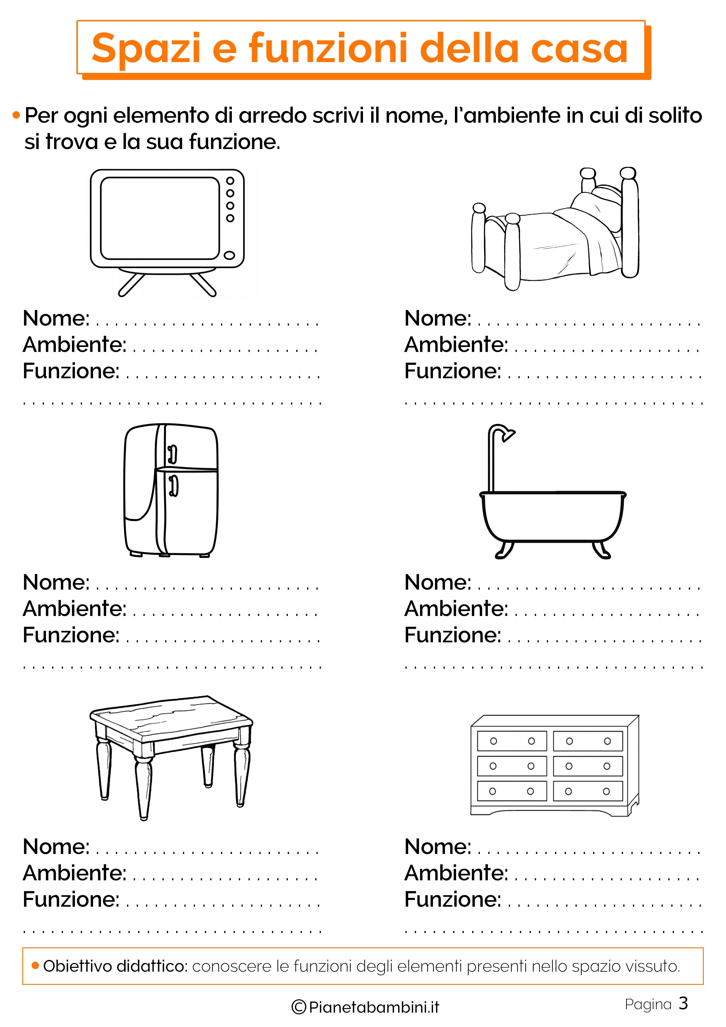 Spazi E Funzioni Della Casa Schede Didattiche Per La Scuola