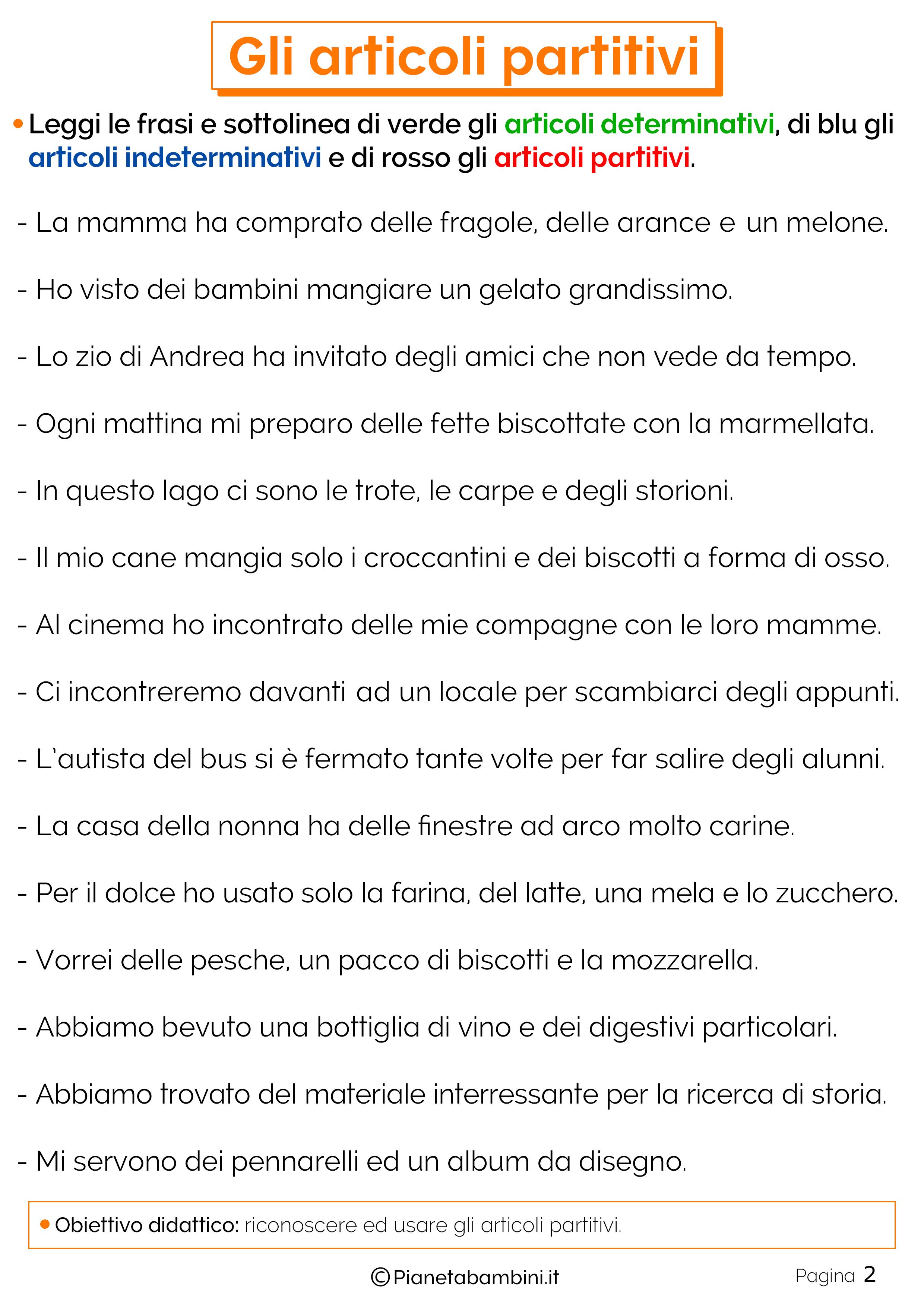 Esercizi sugli articoli partitivi 2