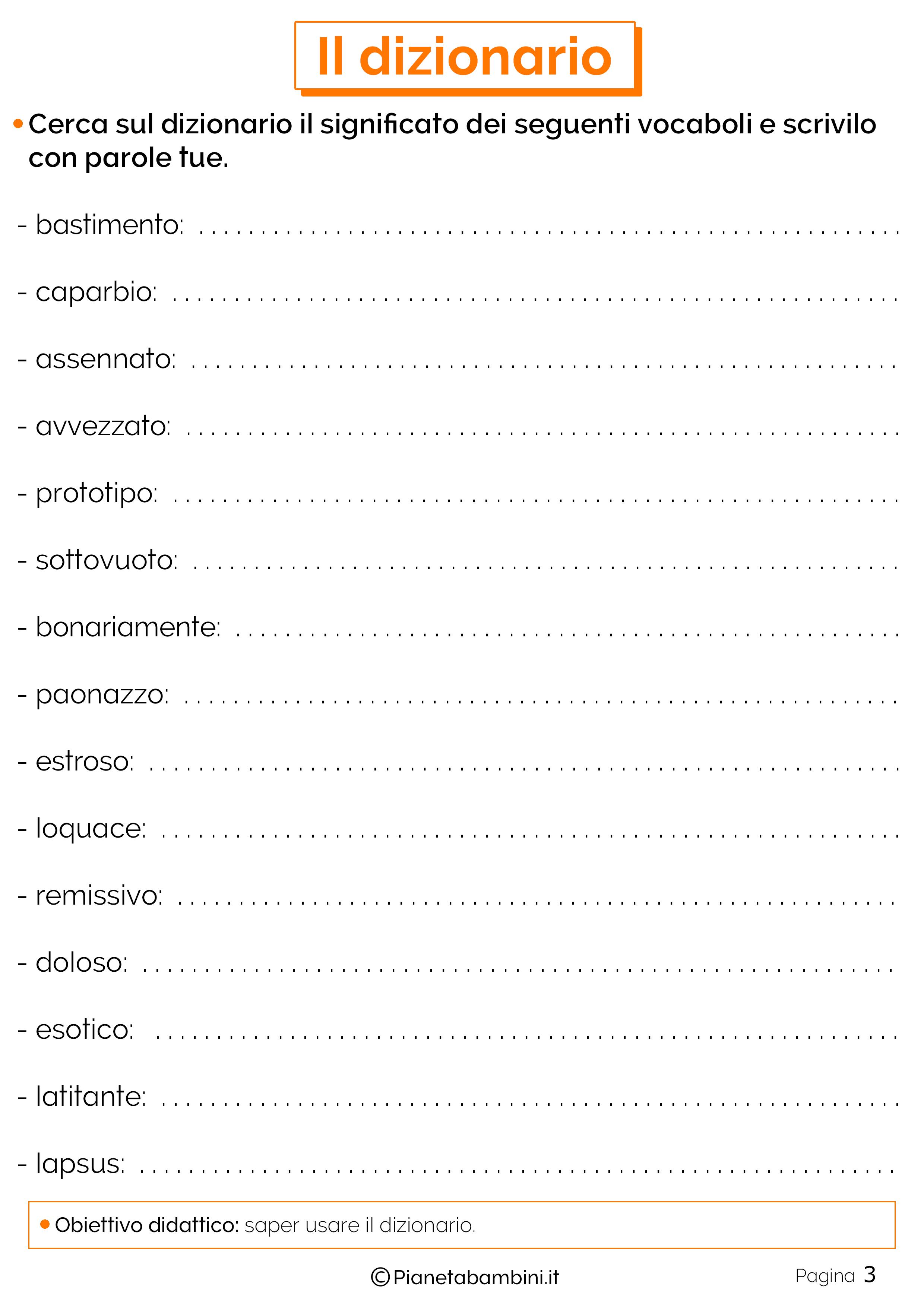 Esercizi sul dizionario 3