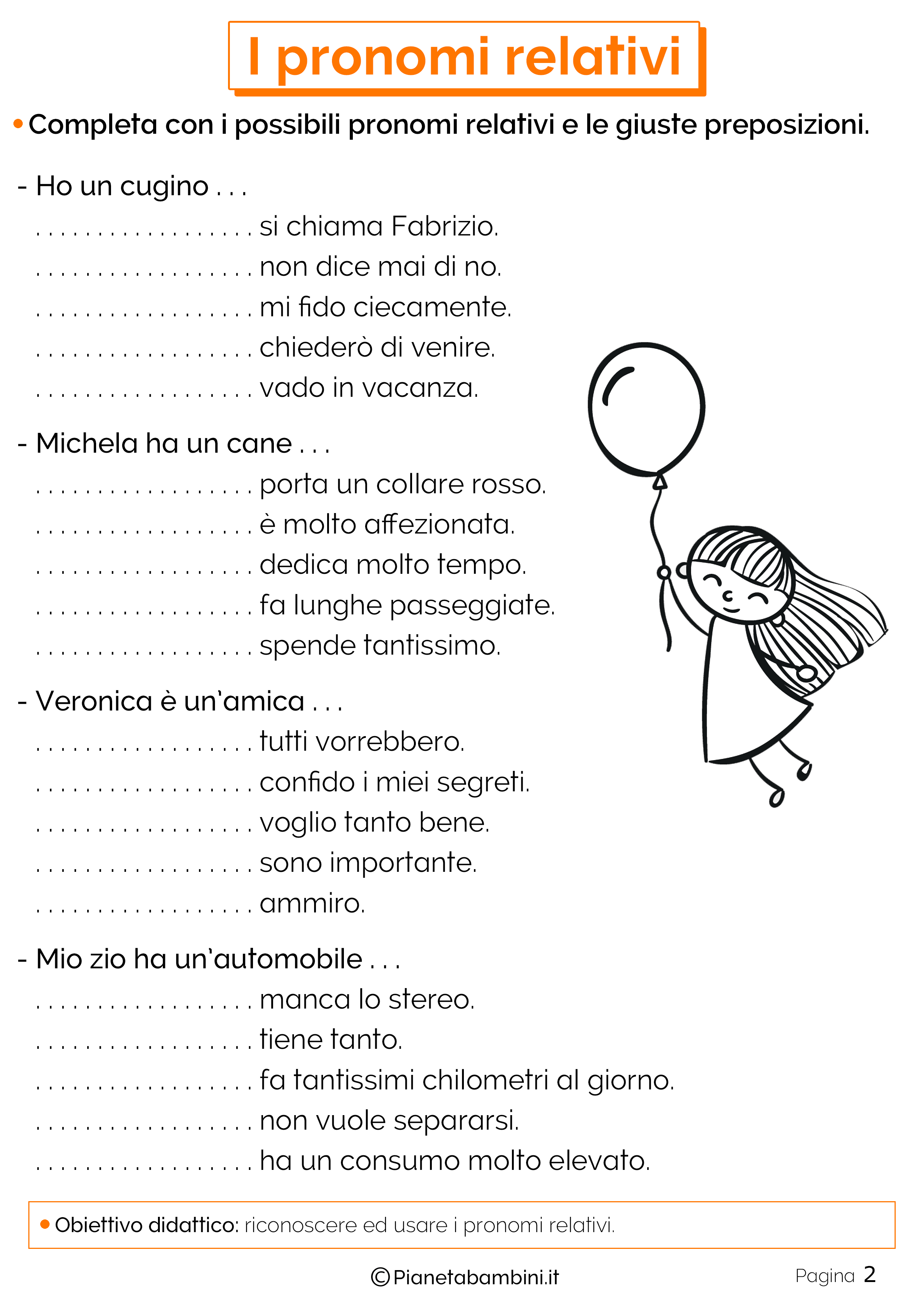 Esercizi sui pronomi relativi 2