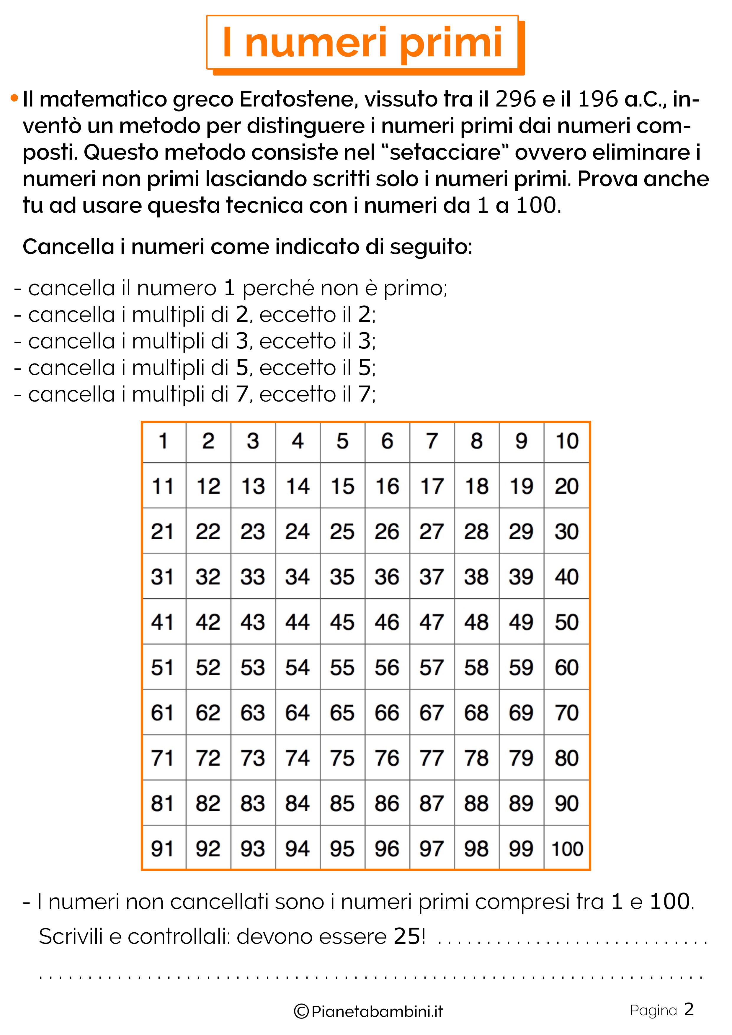 Schede didattiche sui numeri primi 2