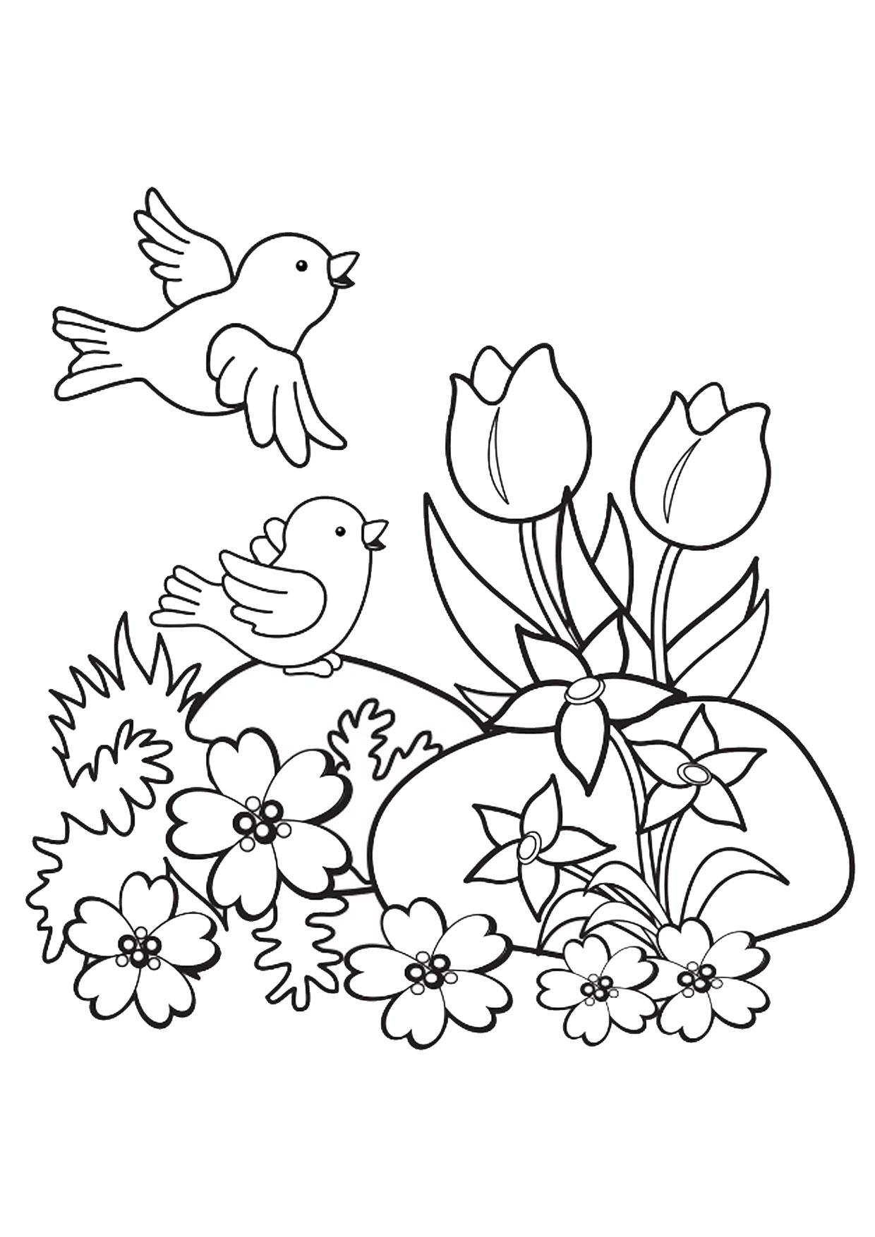 Disegno di paesaggio primaverile da colorare 10