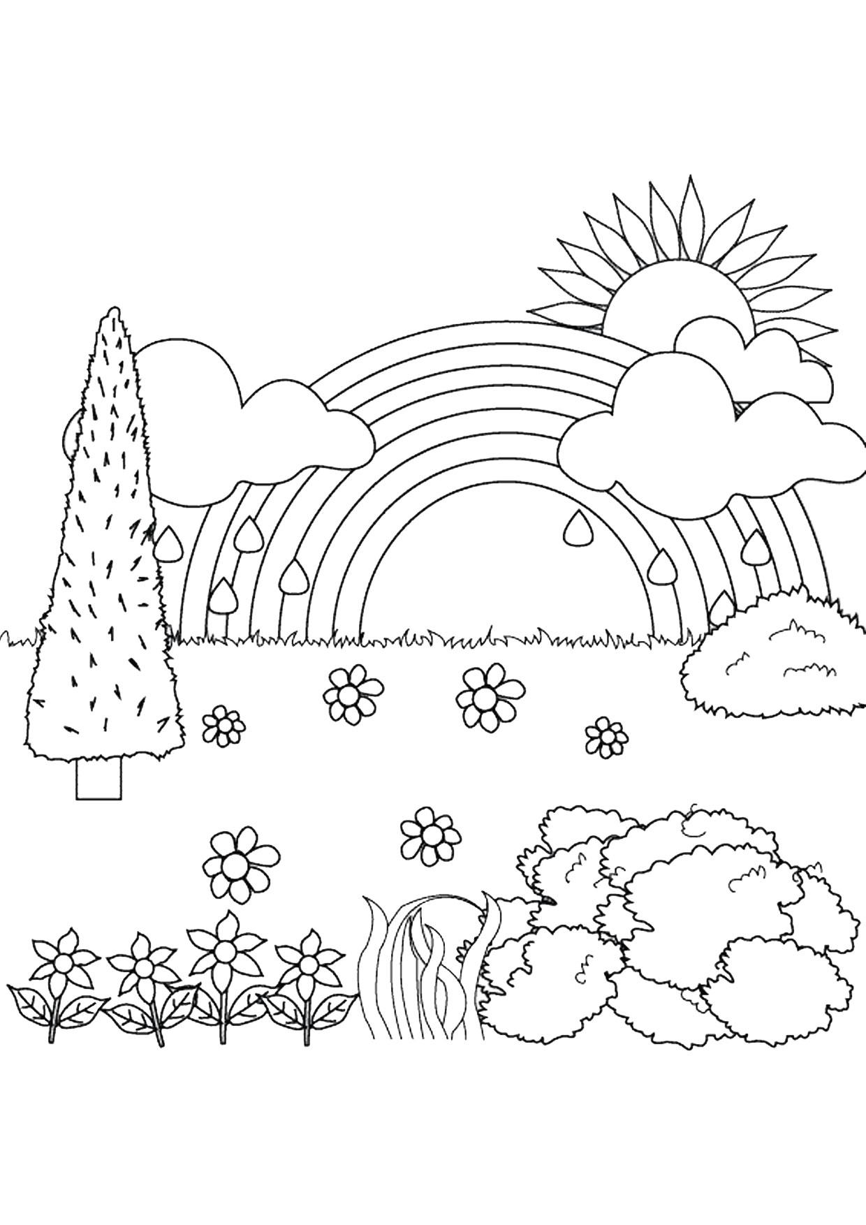 Disegno di paesaggio primaverile da colorare 11