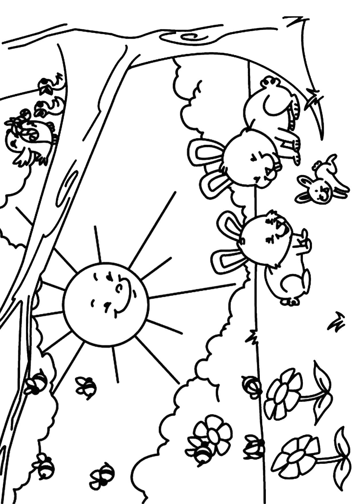Disegno di paesaggio primaverile da colorare 12