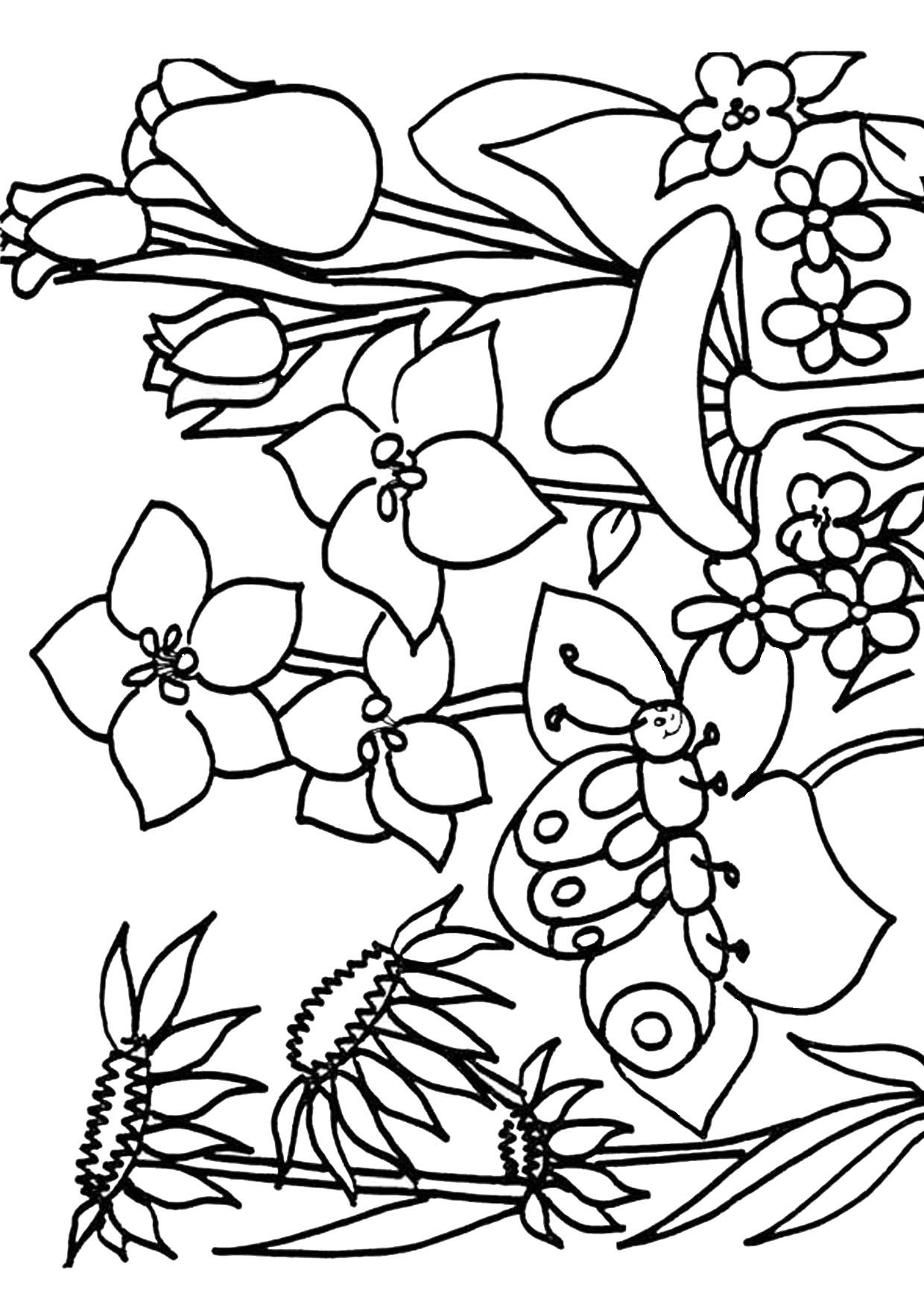 Disegno di paesaggio primaverile da colorare 13