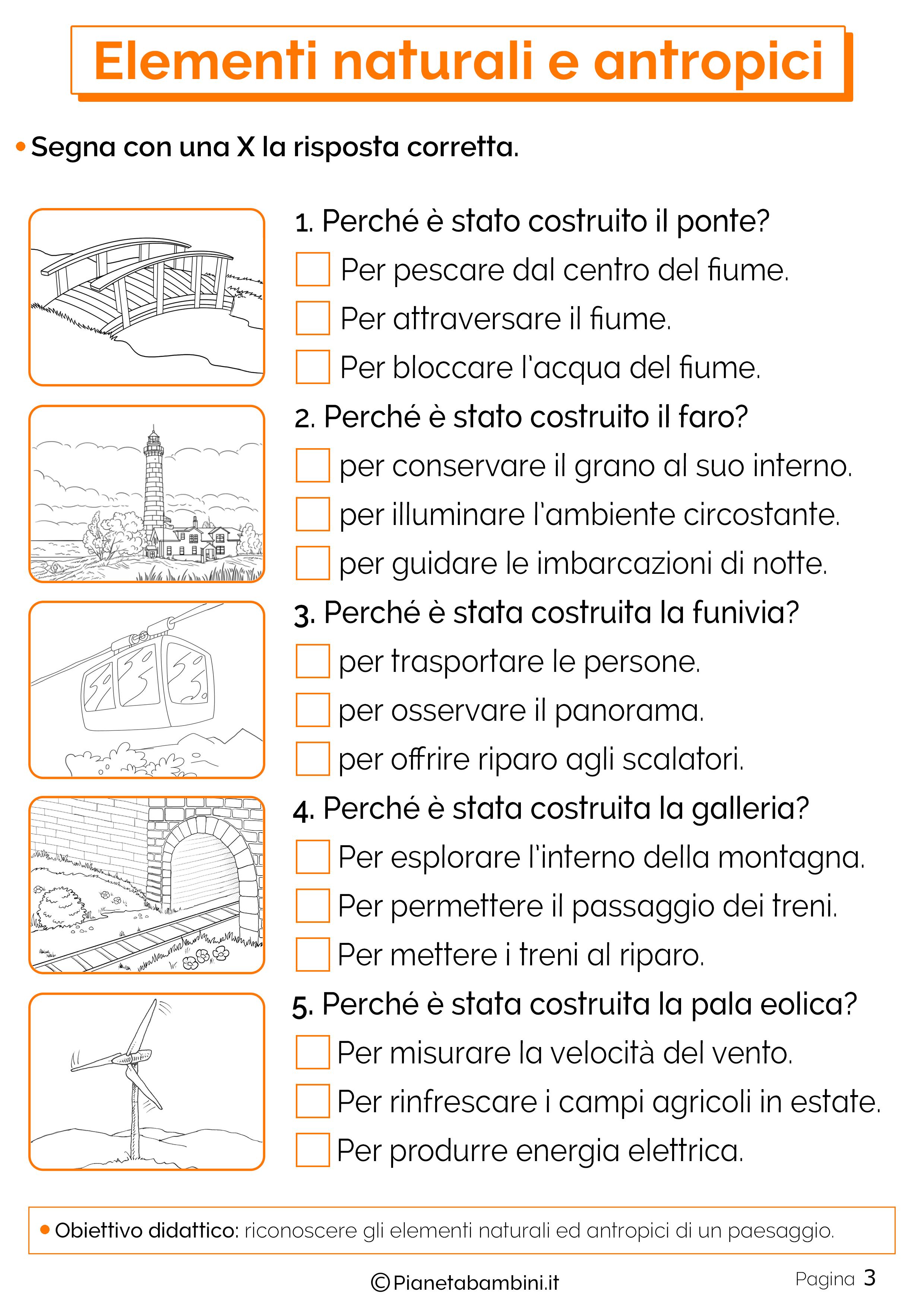 Esercizi sugli elementi naturali e antropici 3