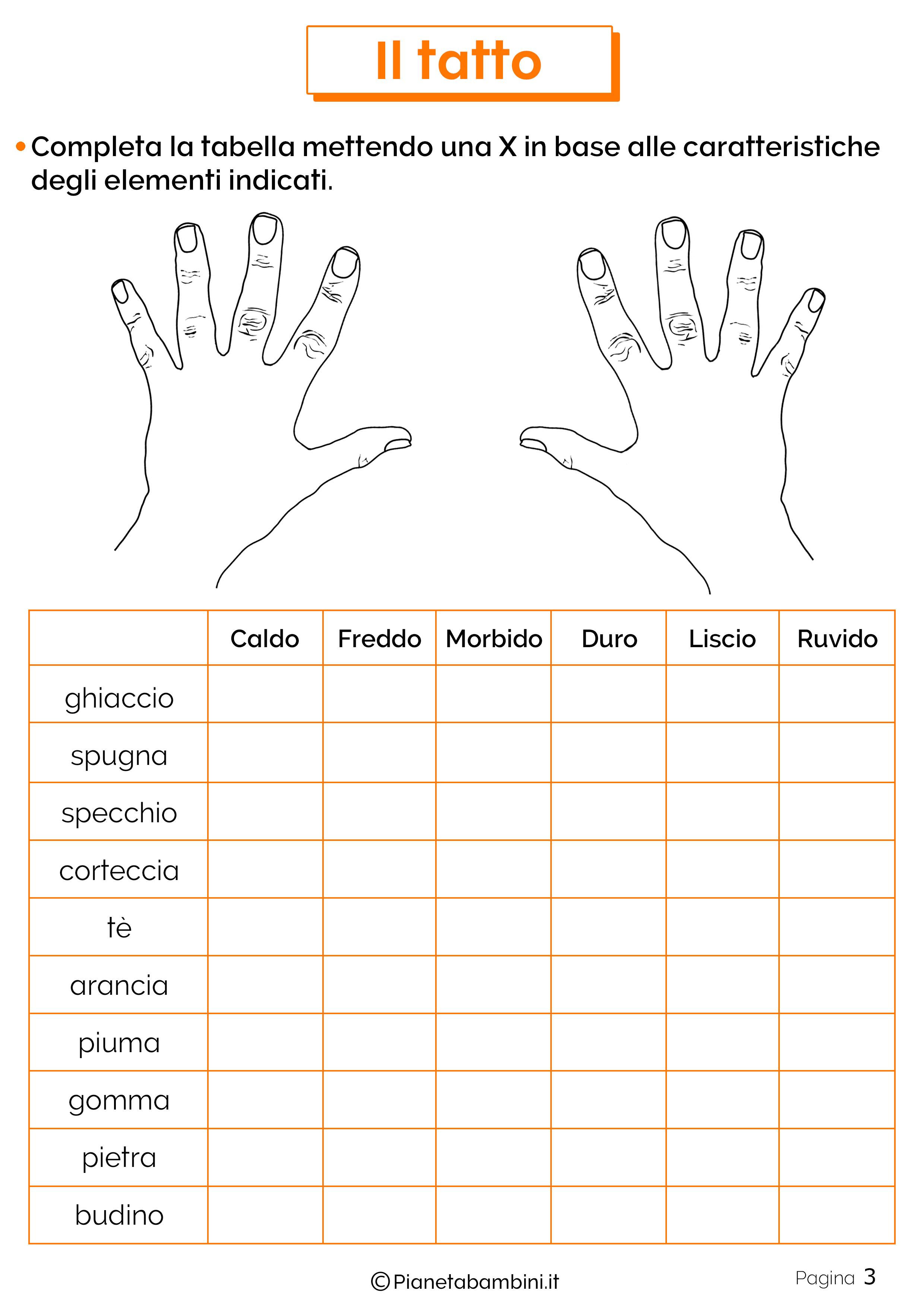 Esercizi sul tatto 3