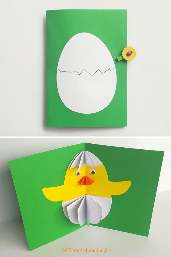 Immagine del biglietto di Pasqua con pulcino tridimensionale