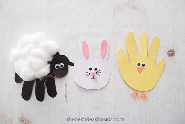 Come creare una pecora, coniglietto e pulcino con impronte della mano