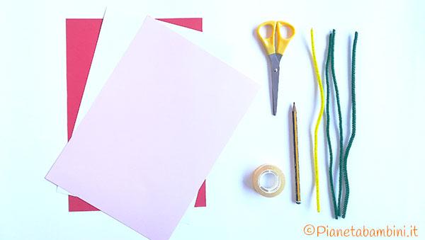 Occorrente per la creazione dei fiori con carta e scovolini